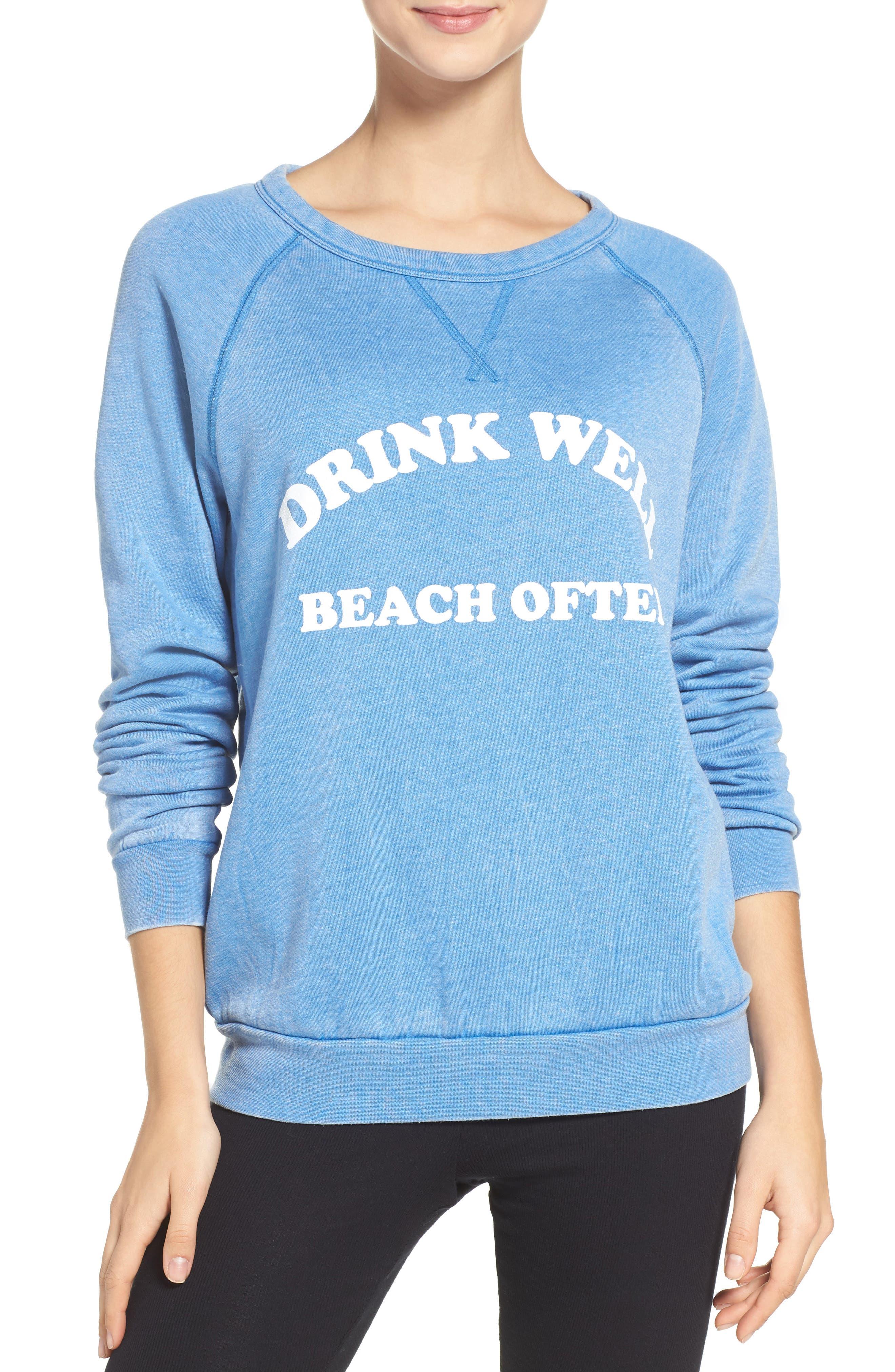Drink Well Beach Often Sweatshirt,                         Main,                         color, Deep Blue