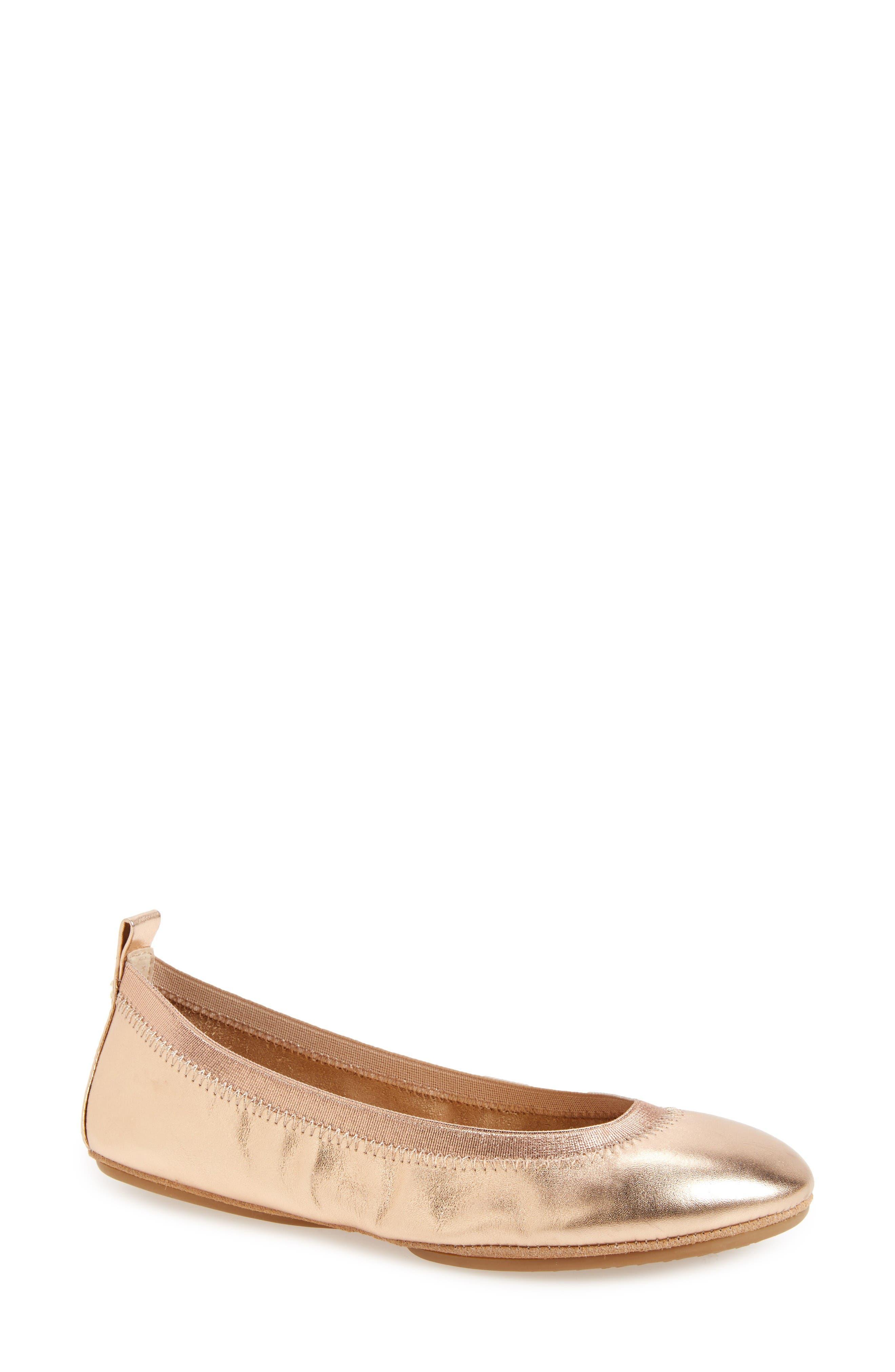 YOSI SAMRA Samara 2.0 Foldable Ballet Flat in Rose Gold Leather
