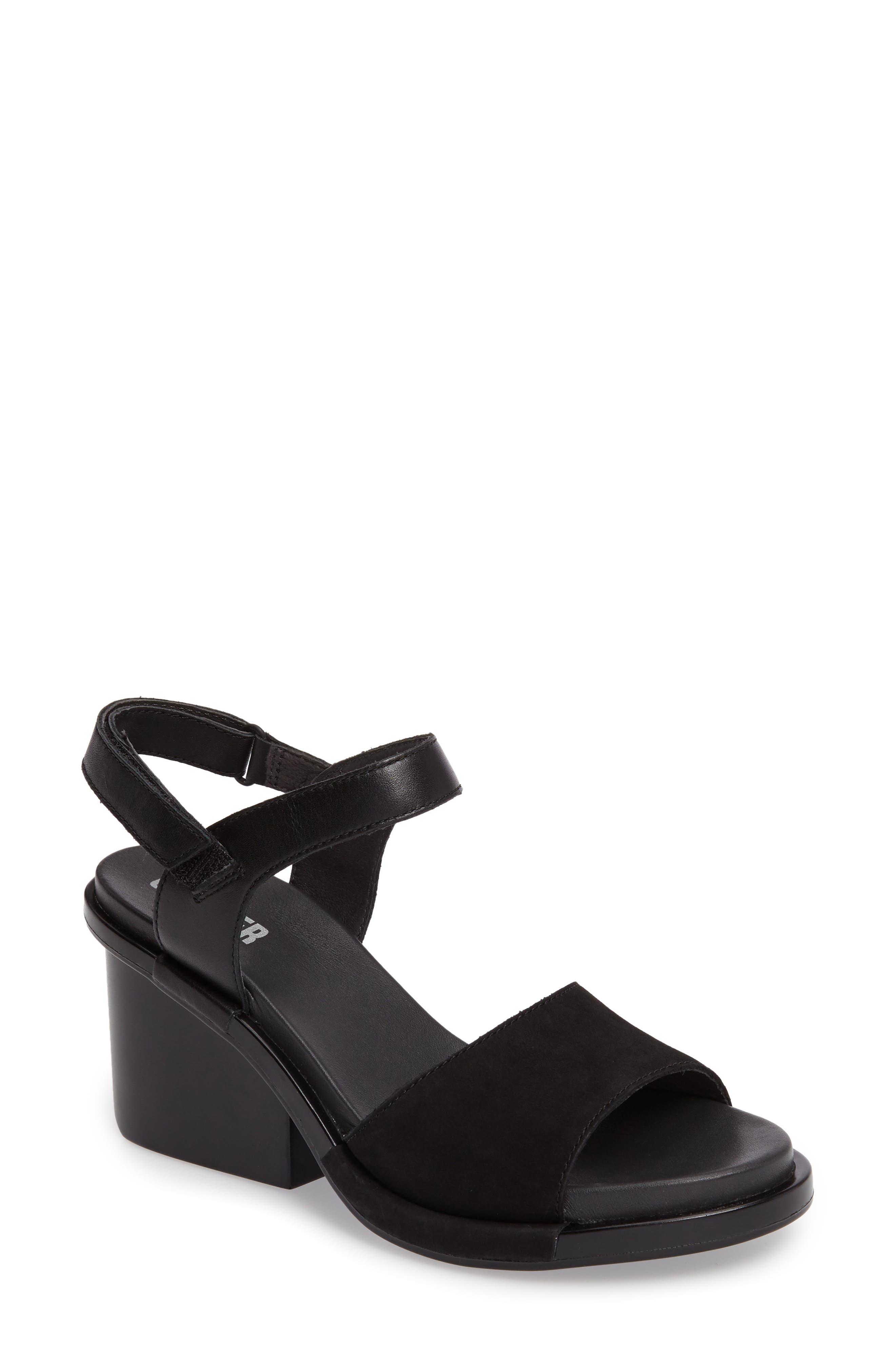Ivy Ankle Strap Sandal,                             Main thumbnail 1, color,                             Black Leather