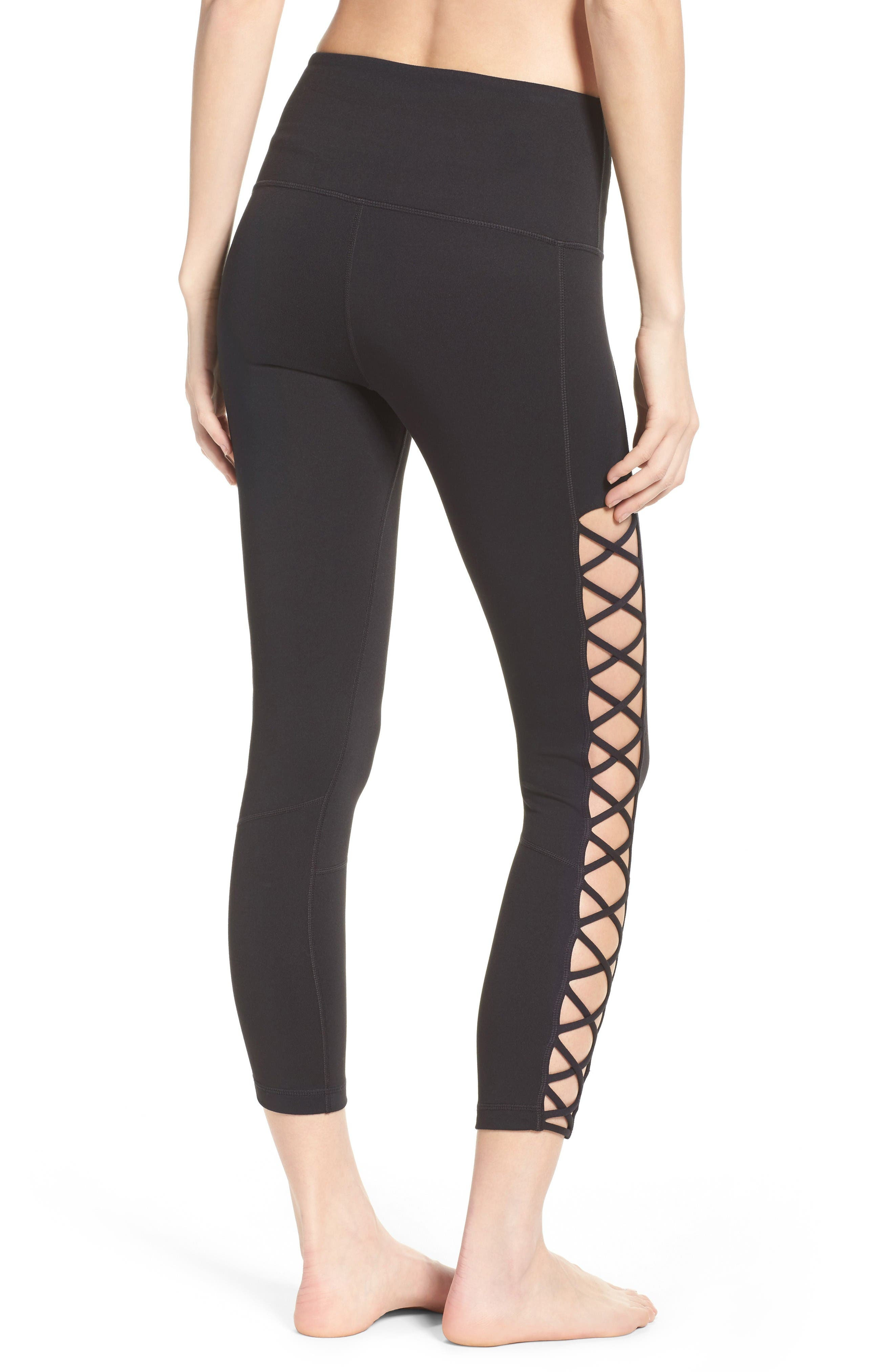 Alternate Image 2  - Zella Lace It Up High Waist Midi Leggings