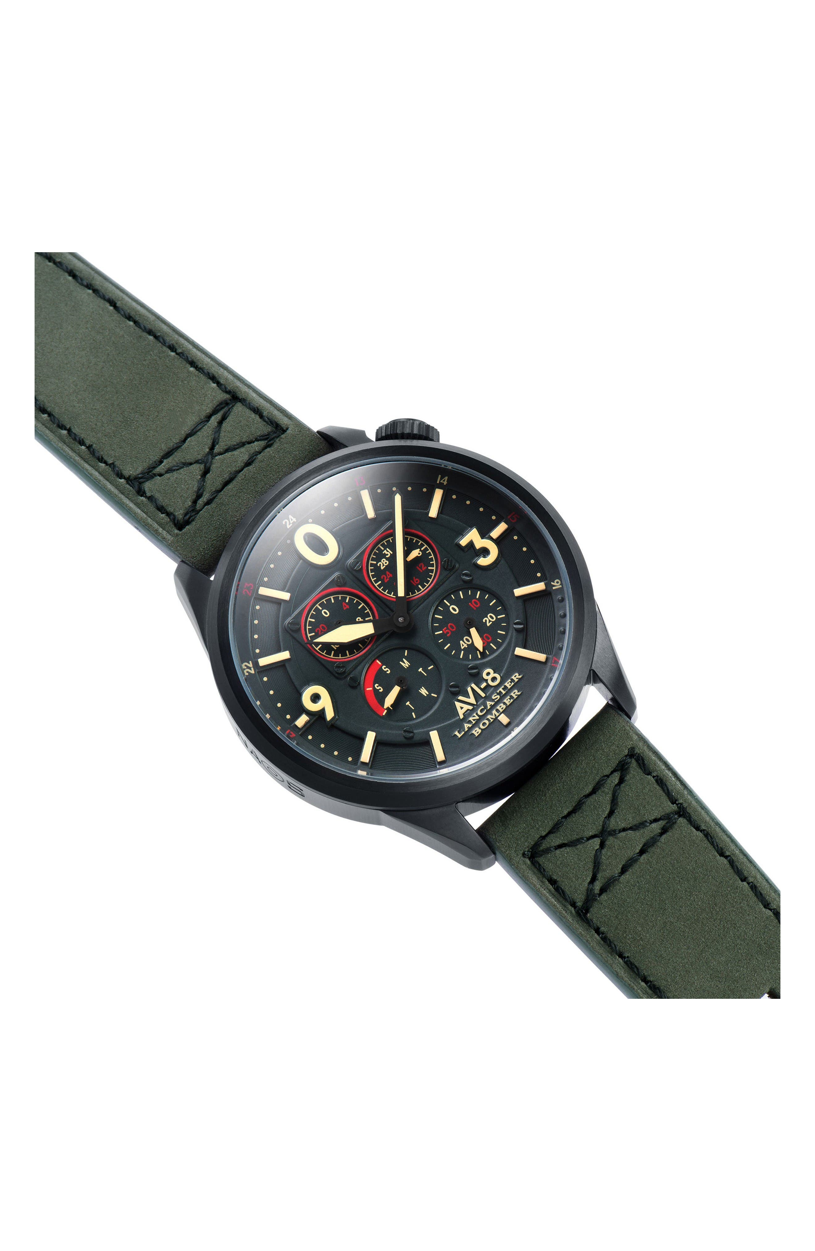 Lancaster Bomber Multifunction Leather Strap Watch, 44mm,                             Alternate thumbnail 5, color,                             Forrest Green/ Army Green