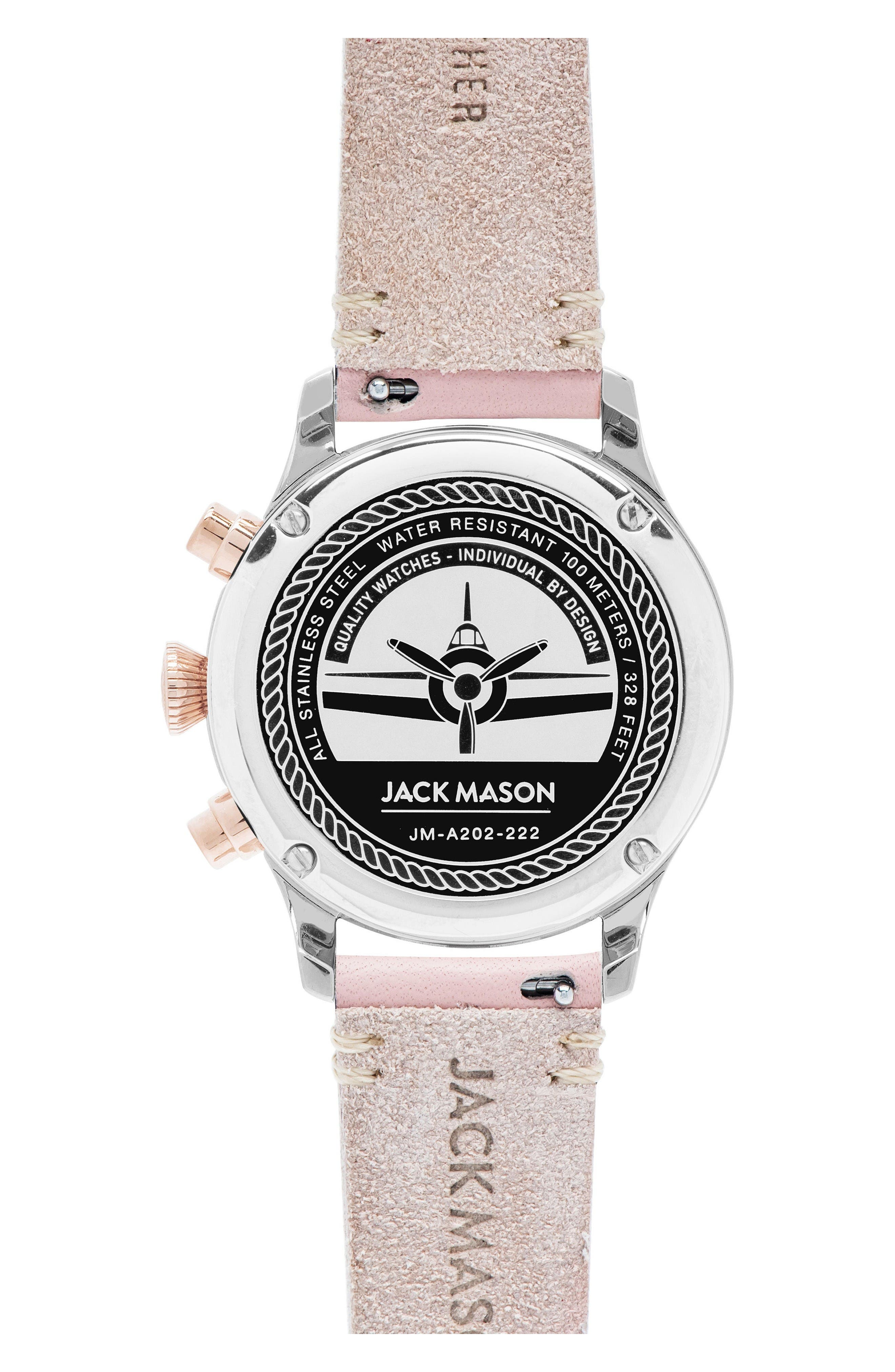 Aviation Chronograph Leather Strap Watch, 36mm,                             Alternate thumbnail 3, color,                             Blush Pink/ White/ Gold
