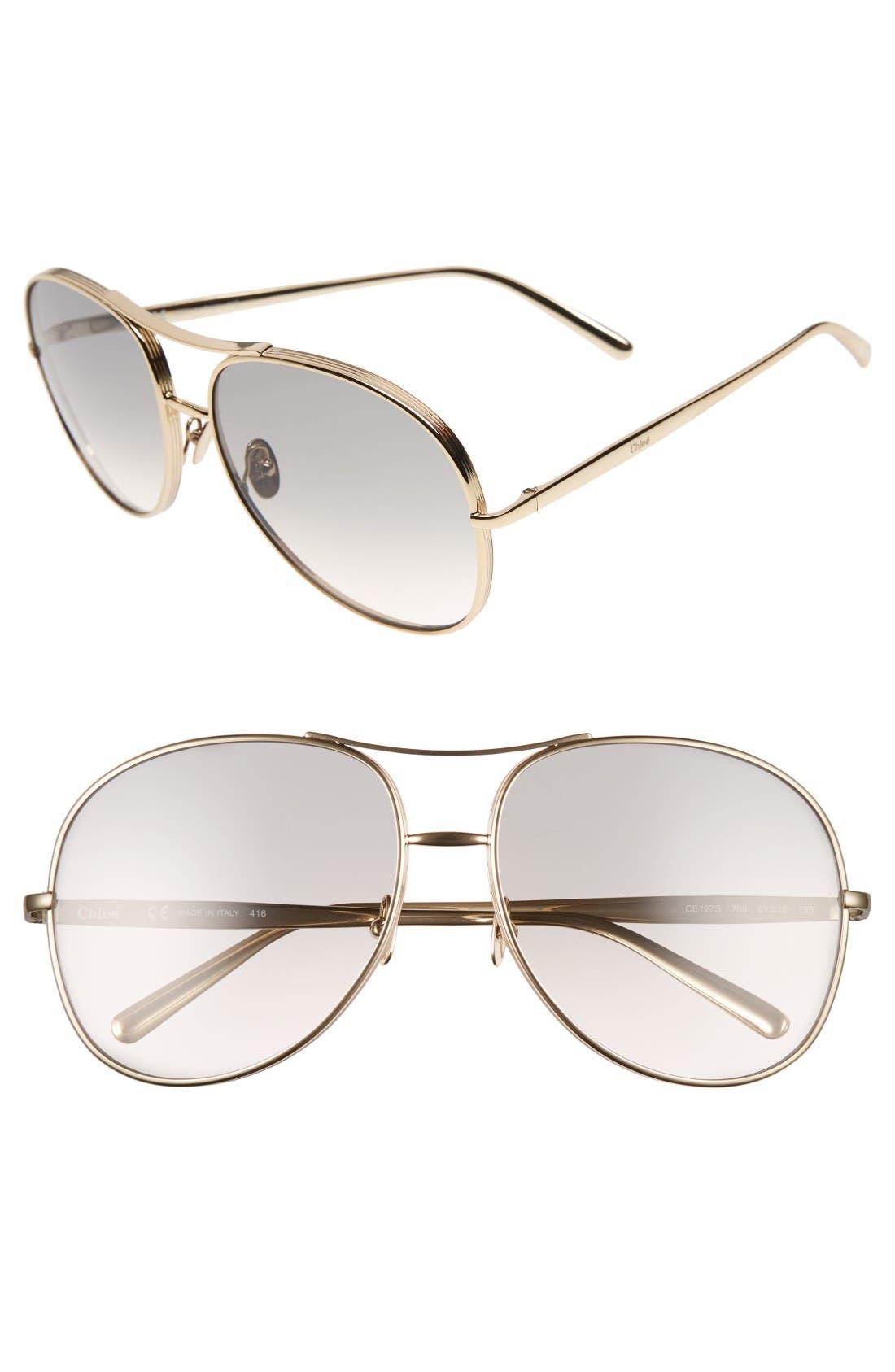 61mm Oversize Sunglasses,                             Main thumbnail 1, color,                             Gold/ Light Grey