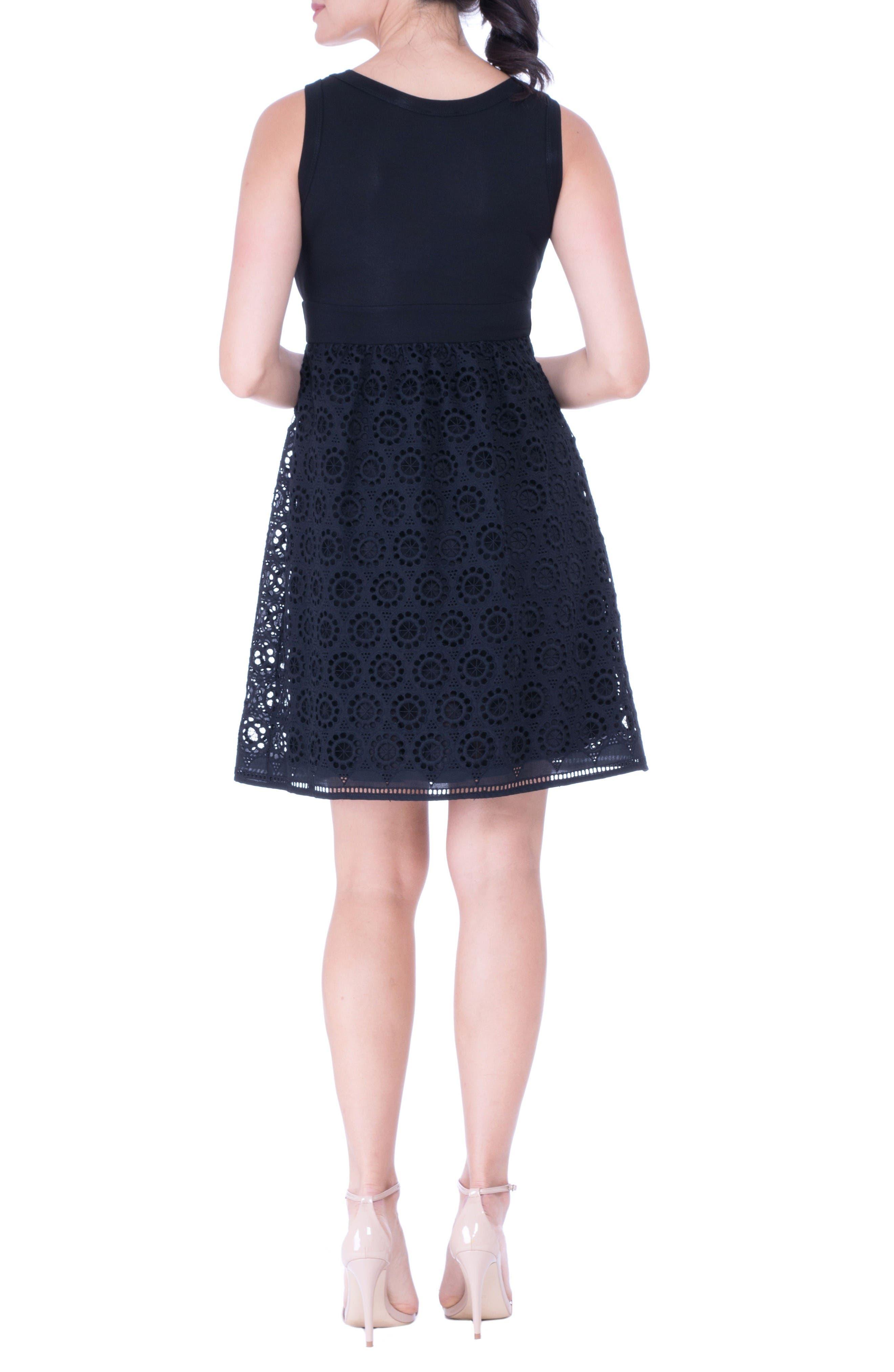 Crochet Maternity Dress,                             Alternate thumbnail 2, color,                             Black