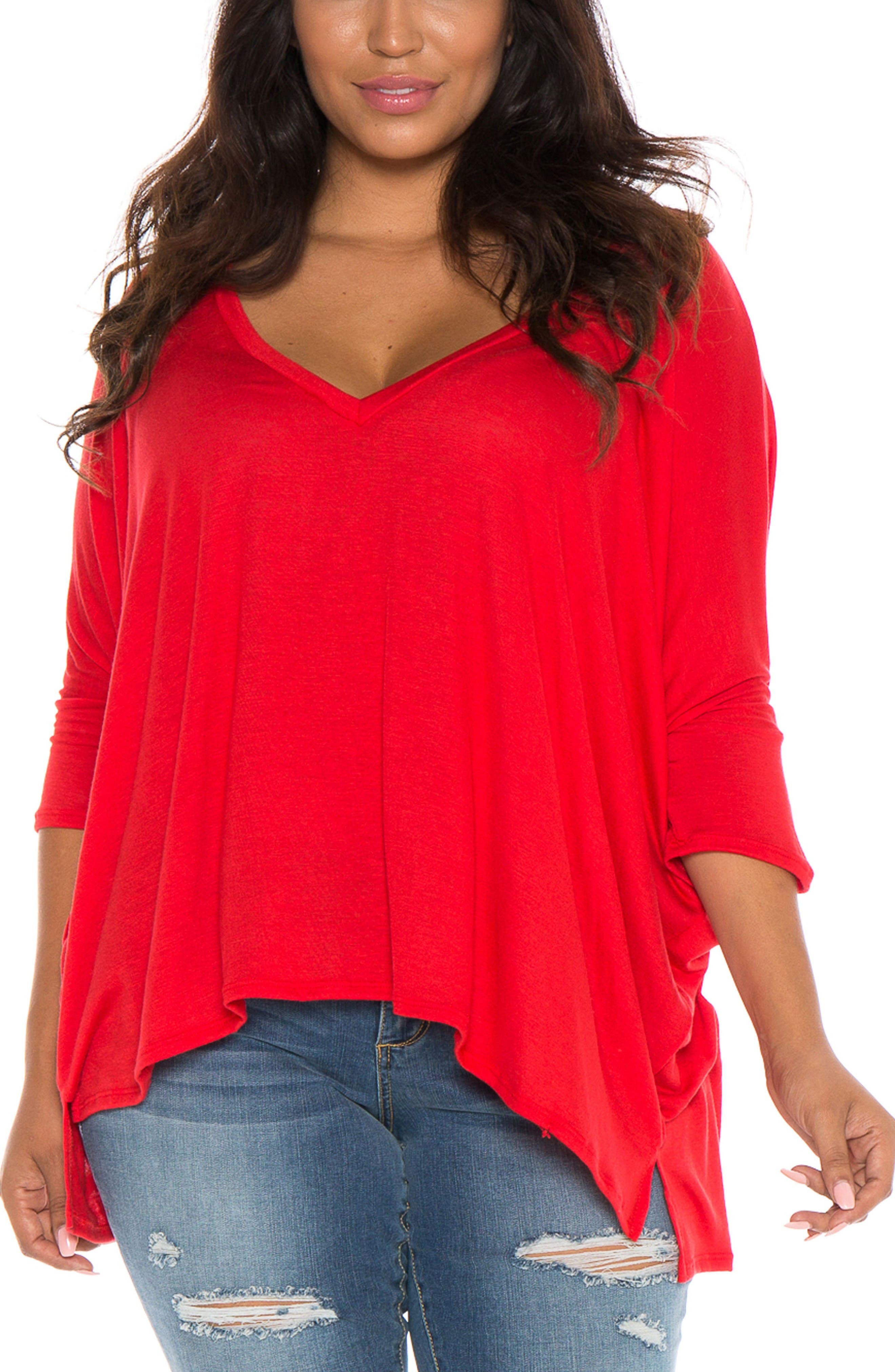 V-Neck Tee,                         Main,                         color, Red