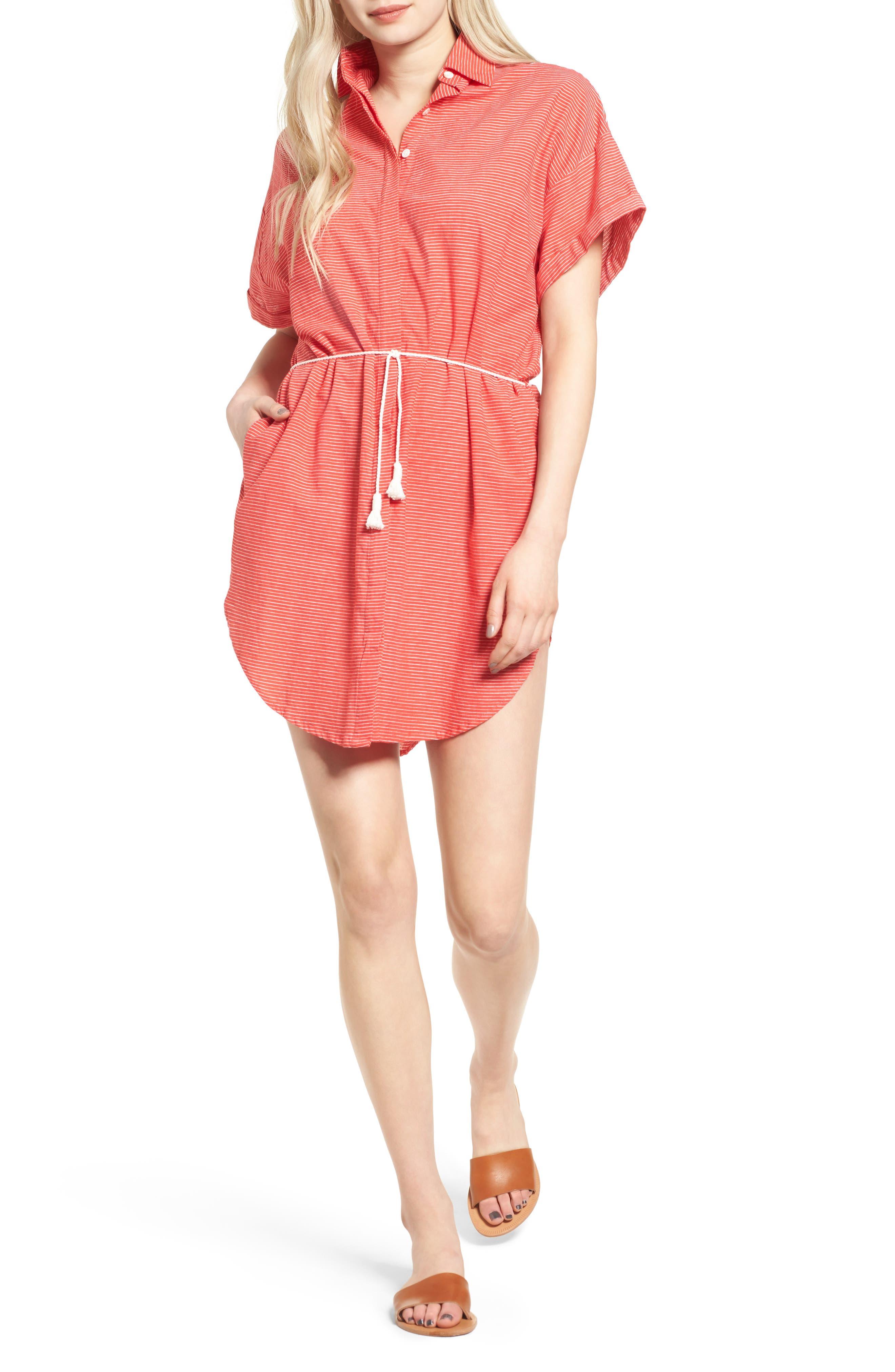 Avalon Cotton Shirtdress,                             Main thumbnail 1, color,                             Deep Sea Print Red