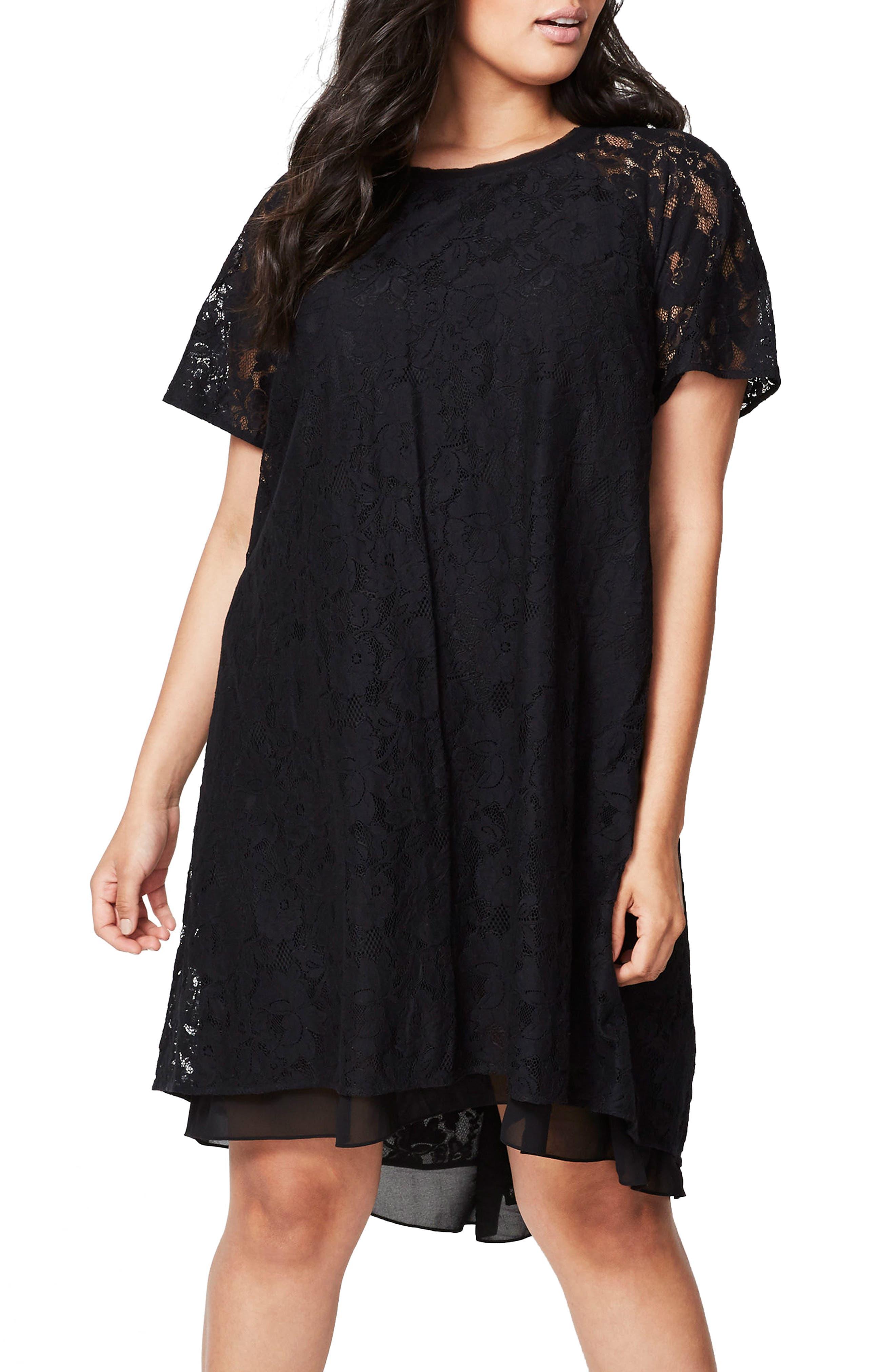 A-Line Lace Dress,                         Main,                         color, Black