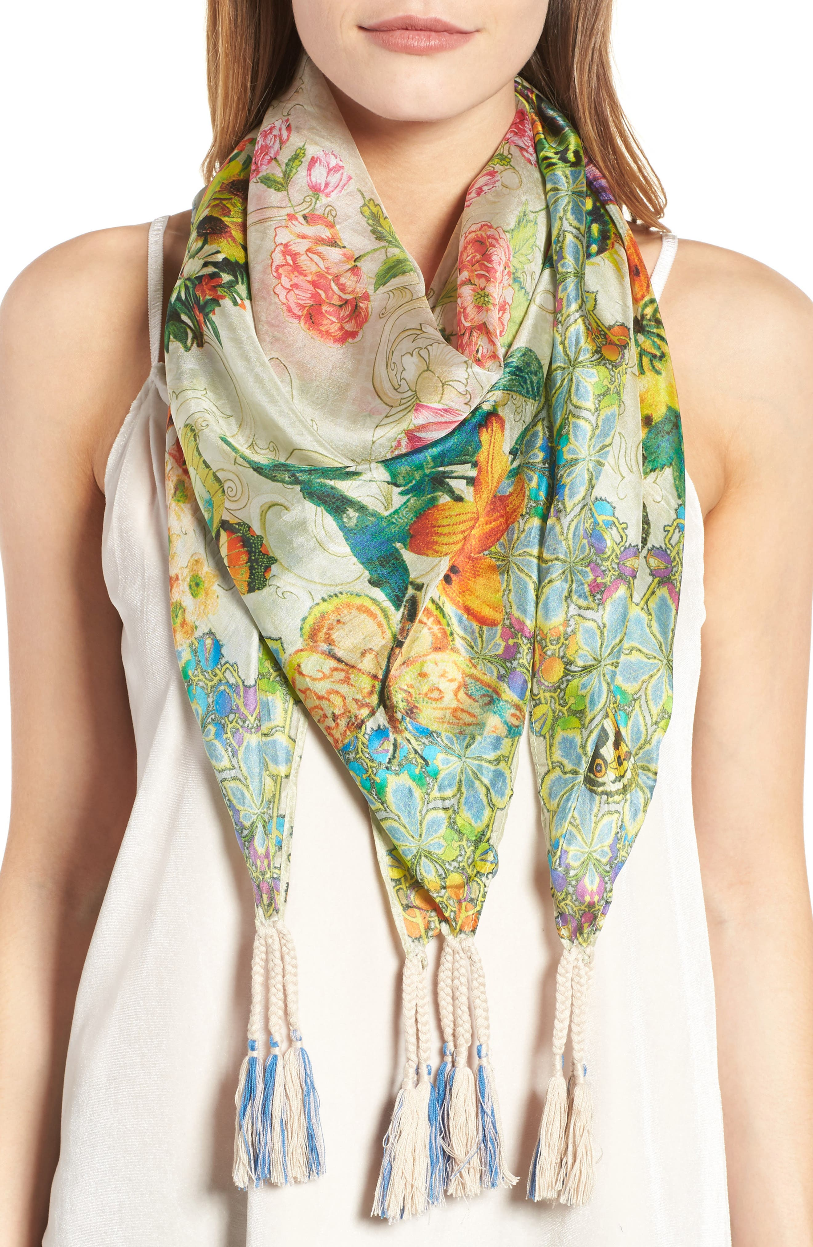 Holly Print Square Silk Scarf,                             Main thumbnail 1, color,                             Multi
