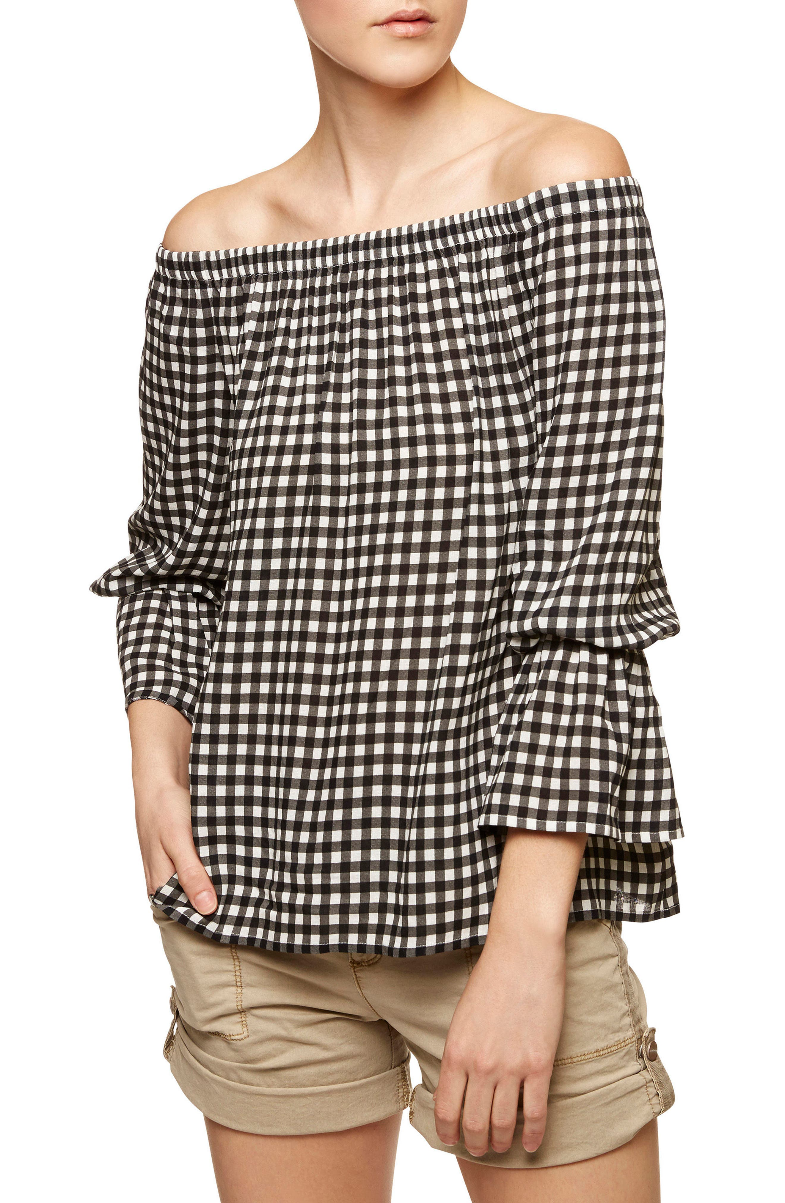 Off the Shoulder Blouse,                         Main,                         color, Black/ White