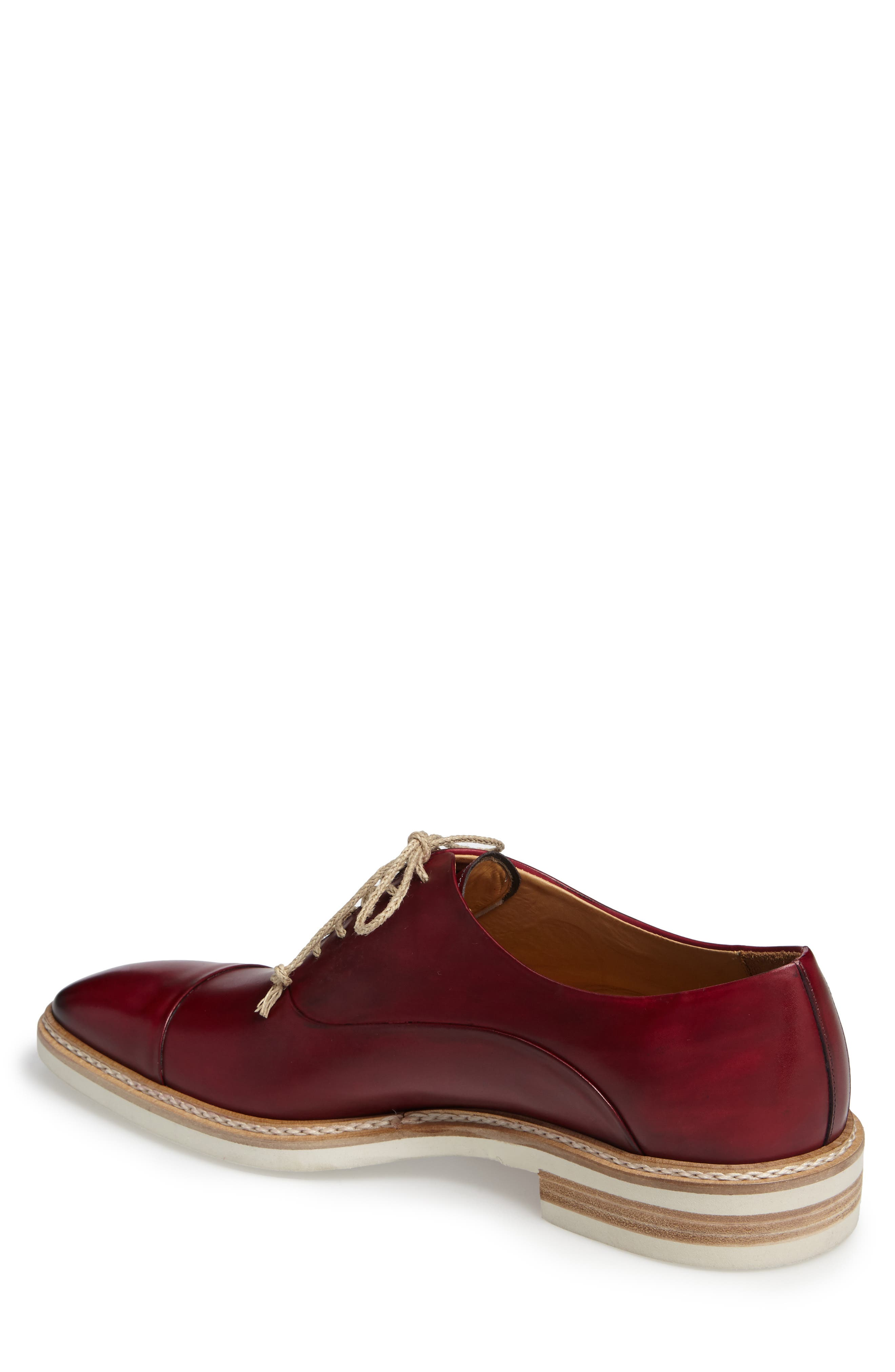 Curie Cap Toe Oxford,                             Alternate thumbnail 2, color,                             Burgundy Leather