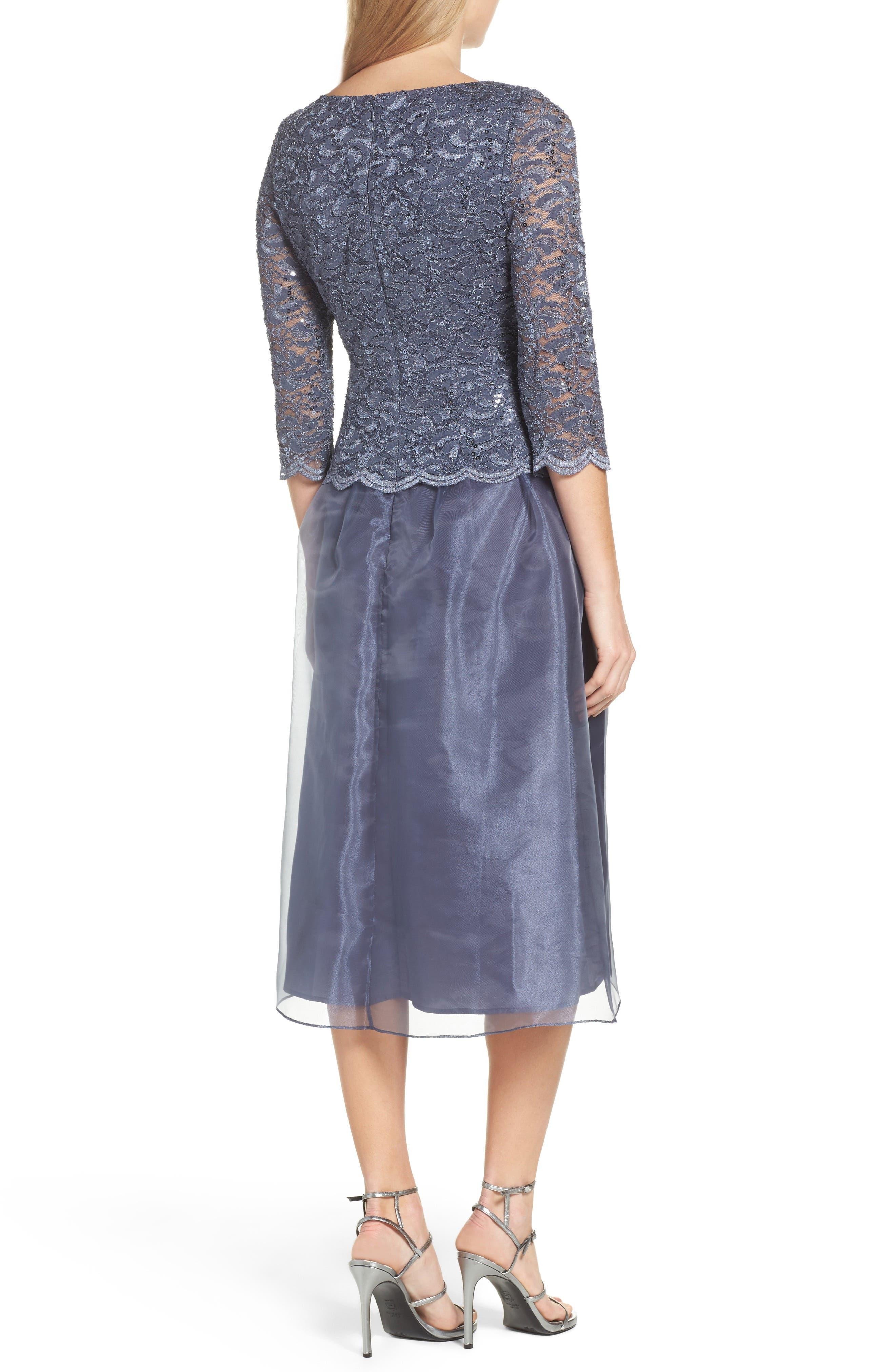 Alternate Image 2  - Alex Evenings Mixed Media Fit & Flare Dress (Regular & Petite)