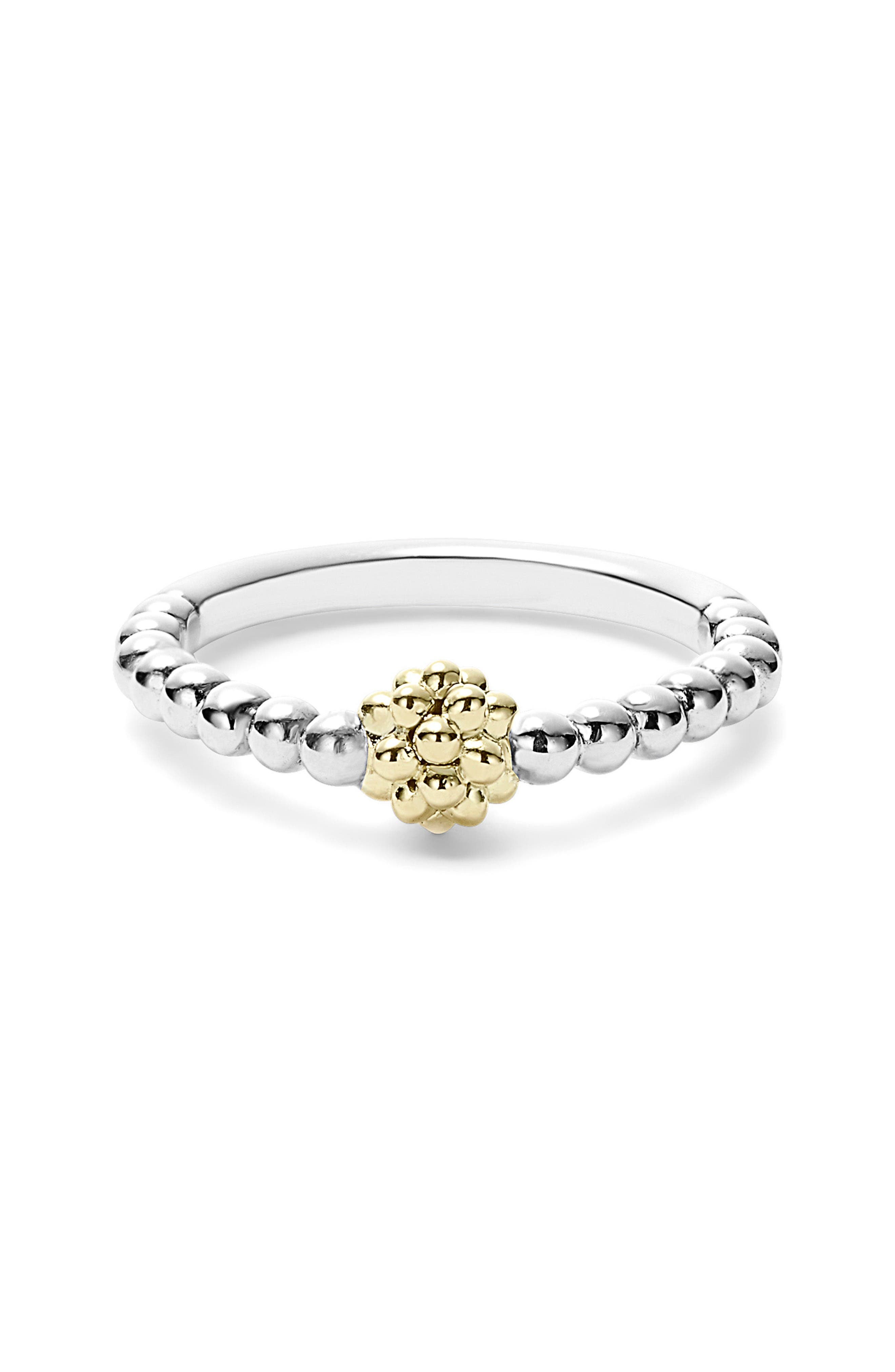Caviar Icon Stacking Ring,                             Alternate thumbnail 2, color,                             Silver/ Gold