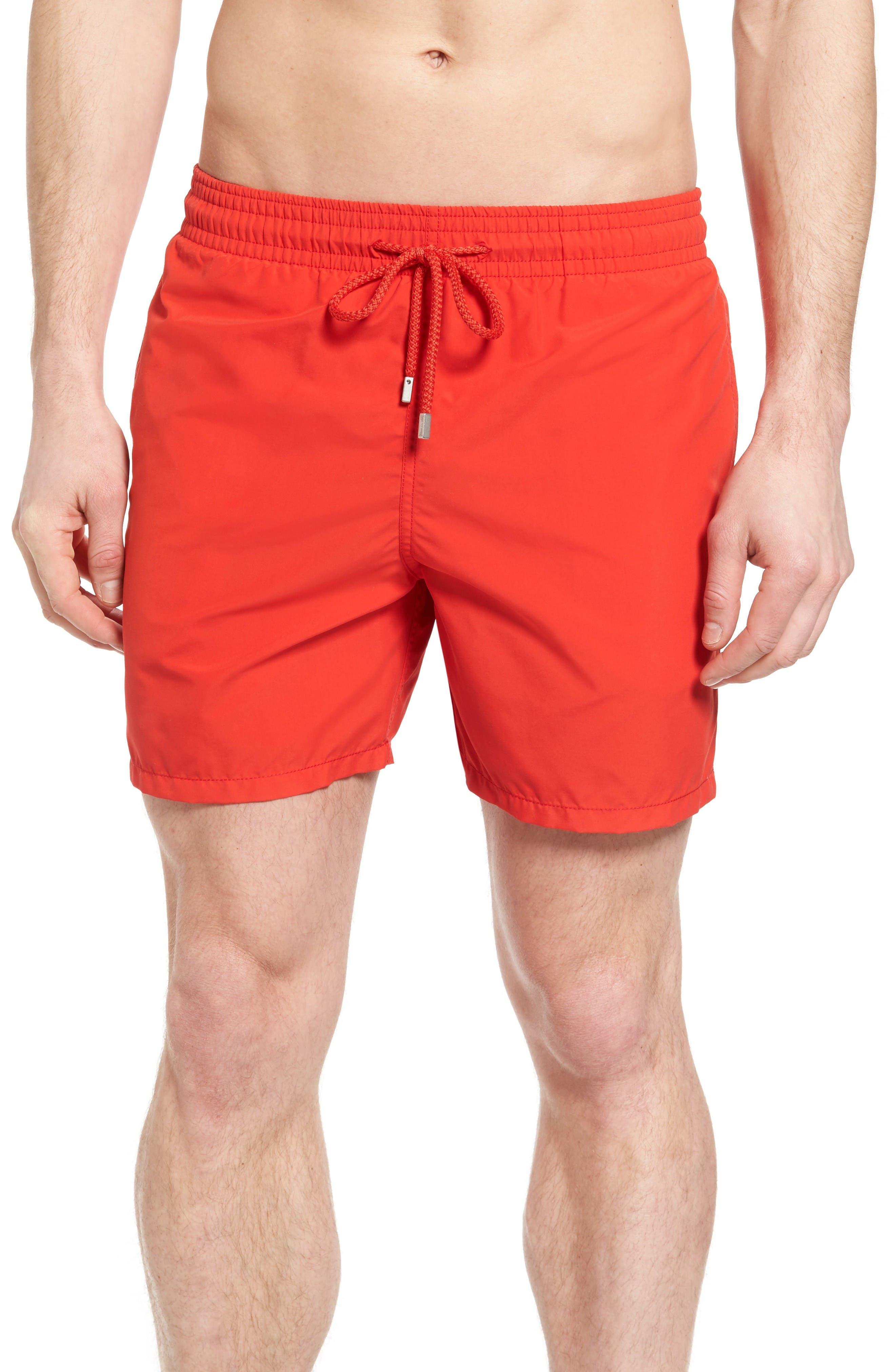 Swim Trunks,                         Main,                         color, Poppy Red