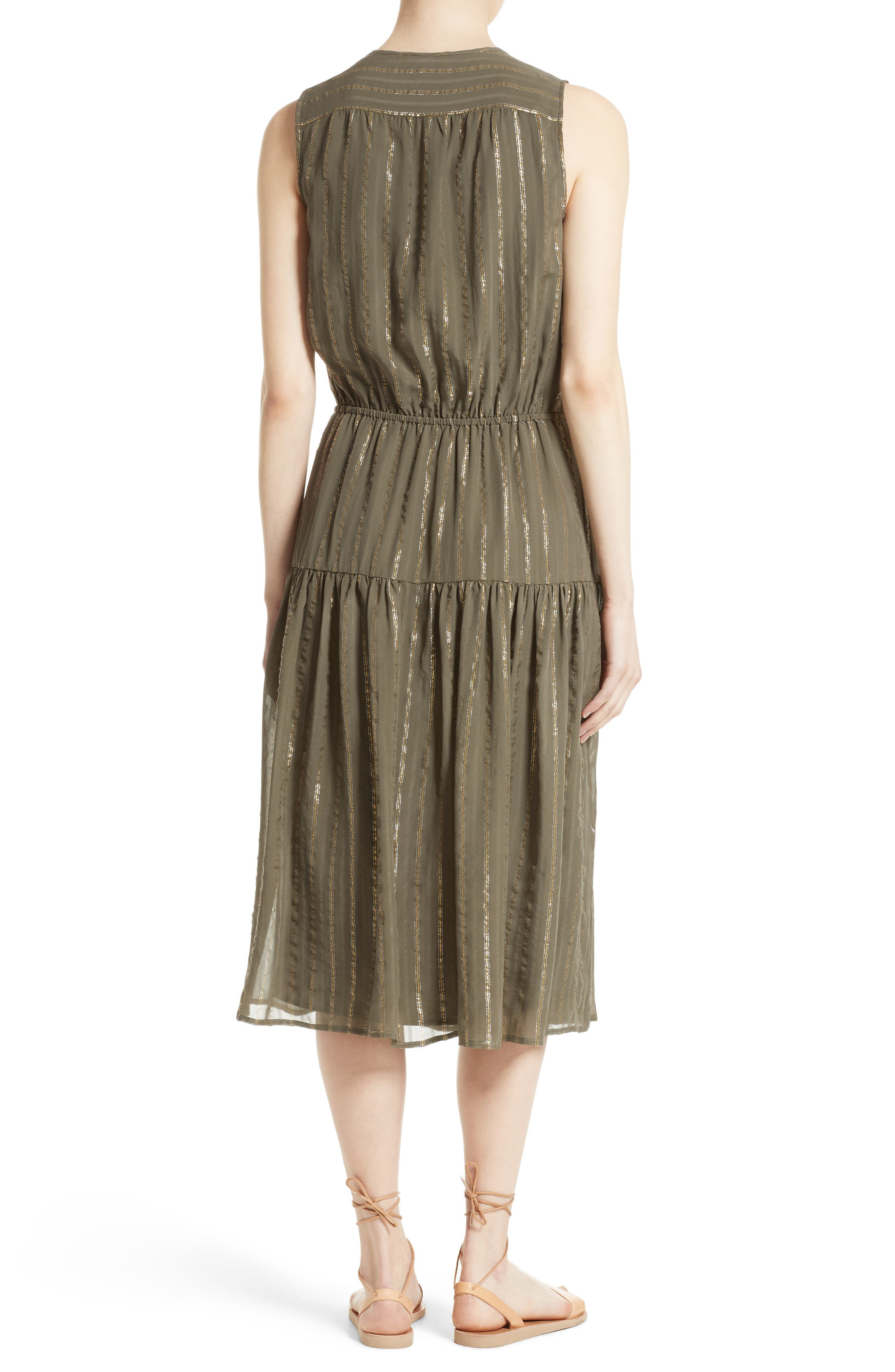Alternate Image 2  - Joie Klea Metallic Stripe Silk Midi Dress