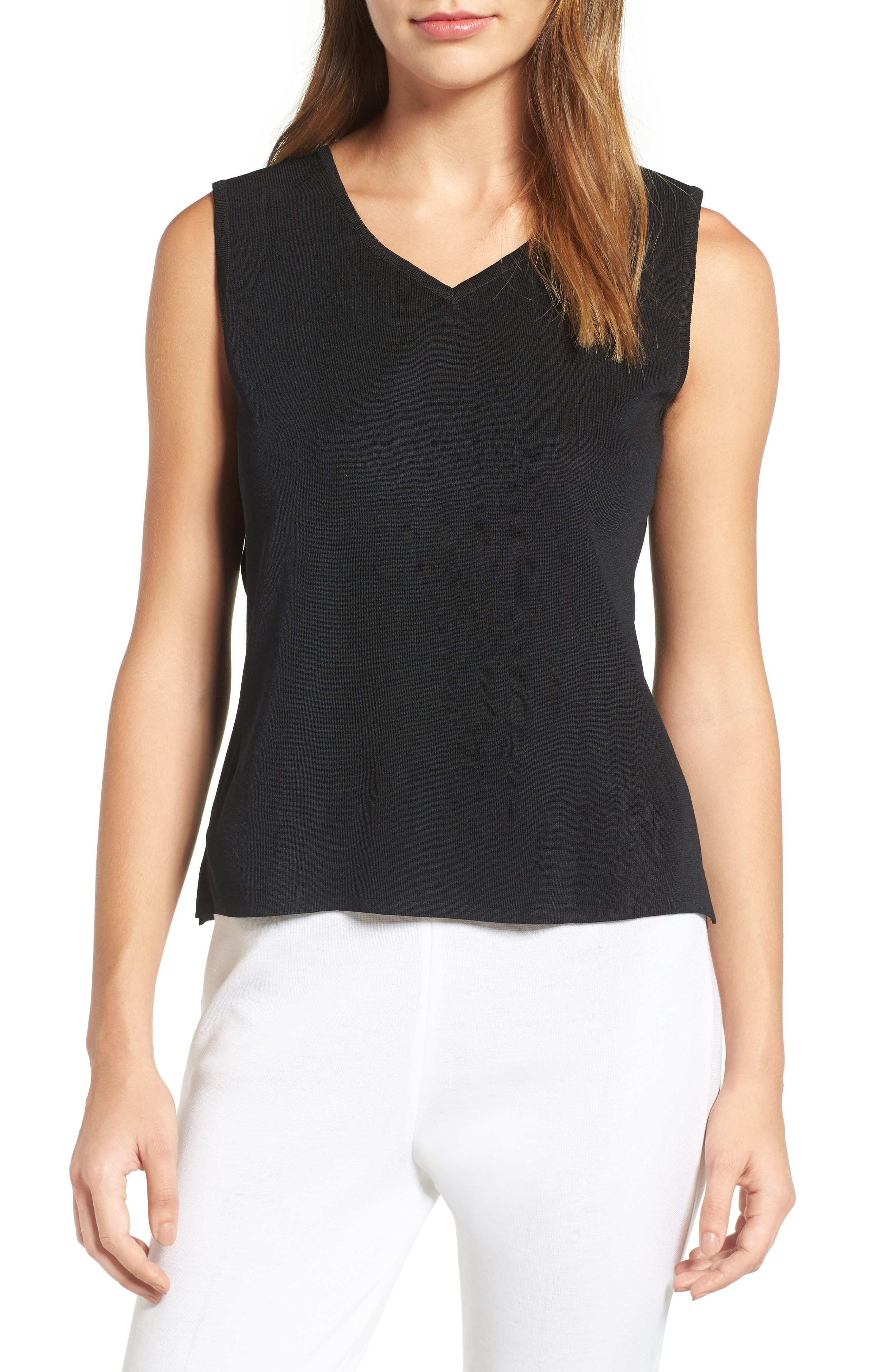 Sweetheart Neck Tank,                         Main,                         color, Black
