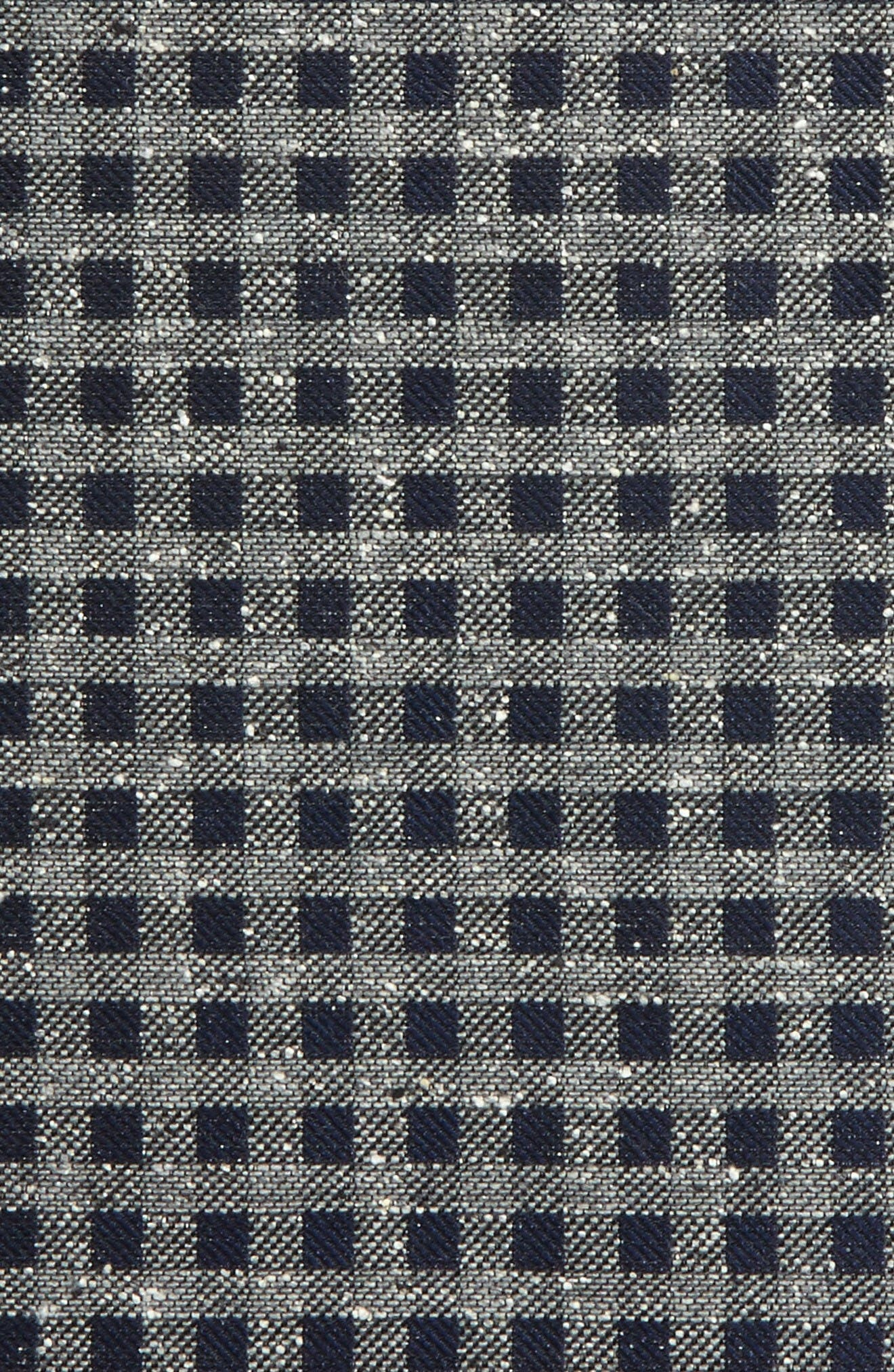 Cement Checks Silk Pocket Square,                             Alternate thumbnail 3, color,                             Navy