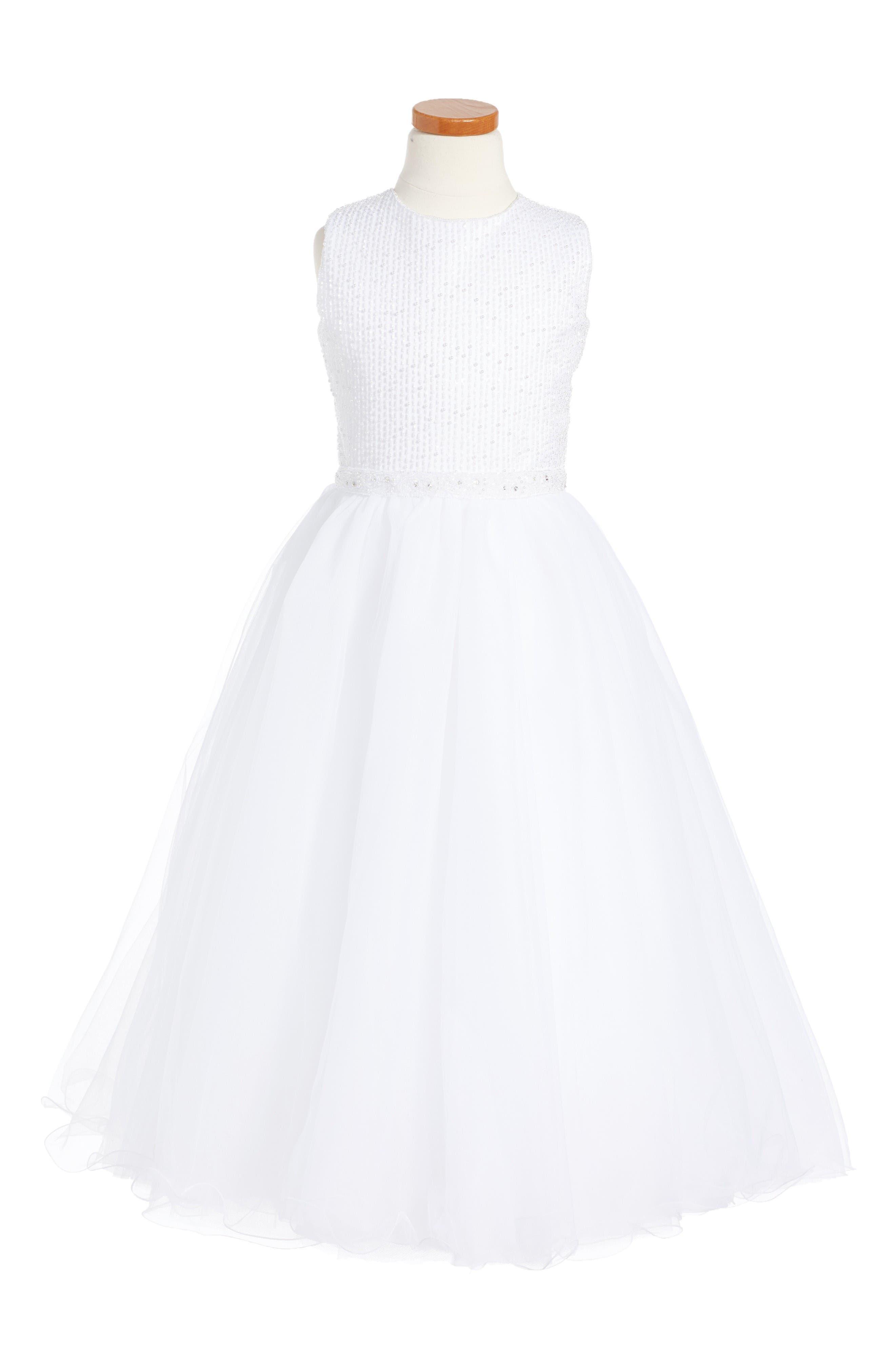 JOAN CALABRESE FOR MON CHERI Beaded Satin & Tulle First Communion Dress
