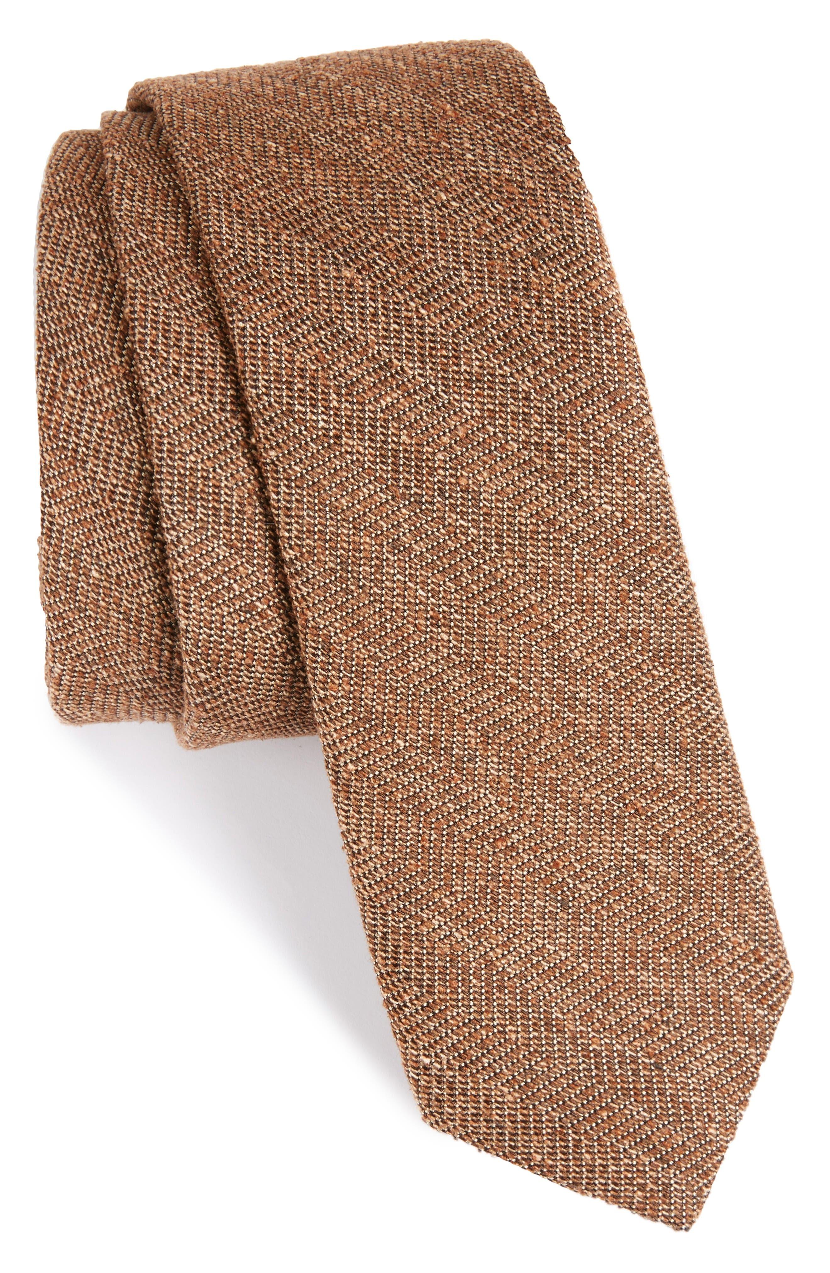 Zigzag Silk Tie,                             Main thumbnail 1, color,                             Brown