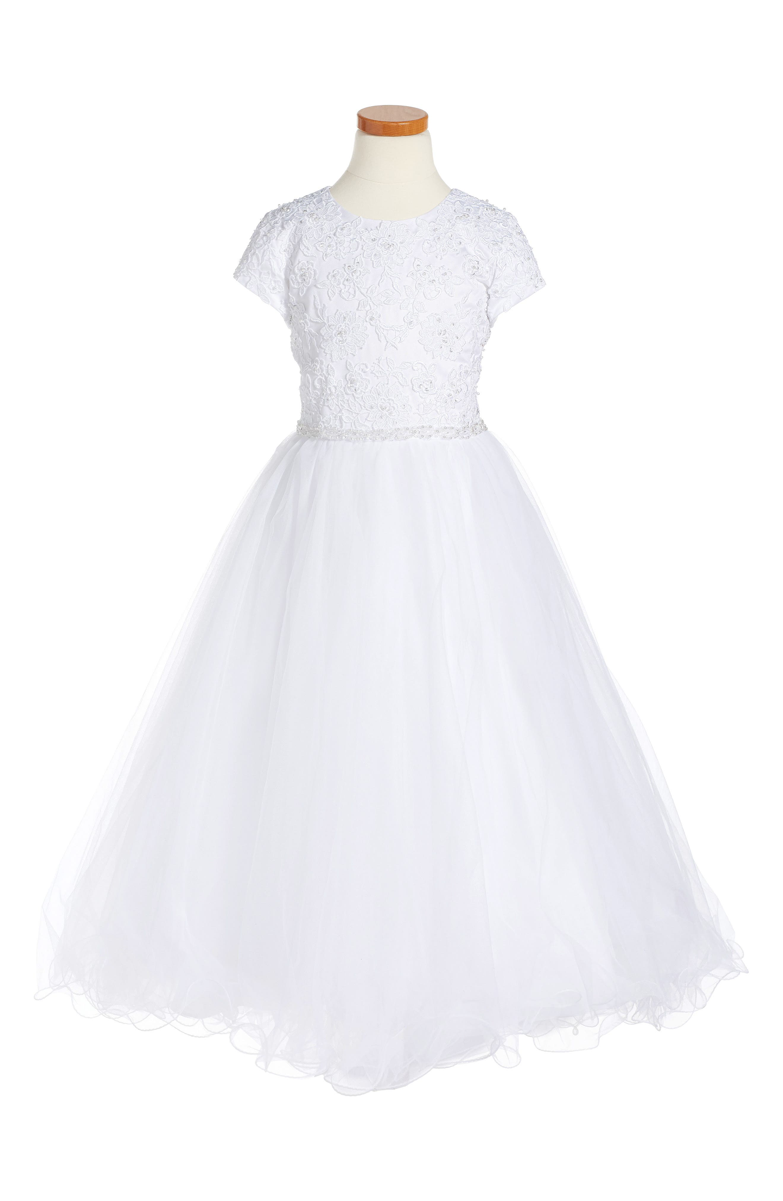 Alternate Image 1 Selected - Joan Calabrese for Mon Cheri Floral Appliqué First Communion Dress (Little Girls & Big Girls)