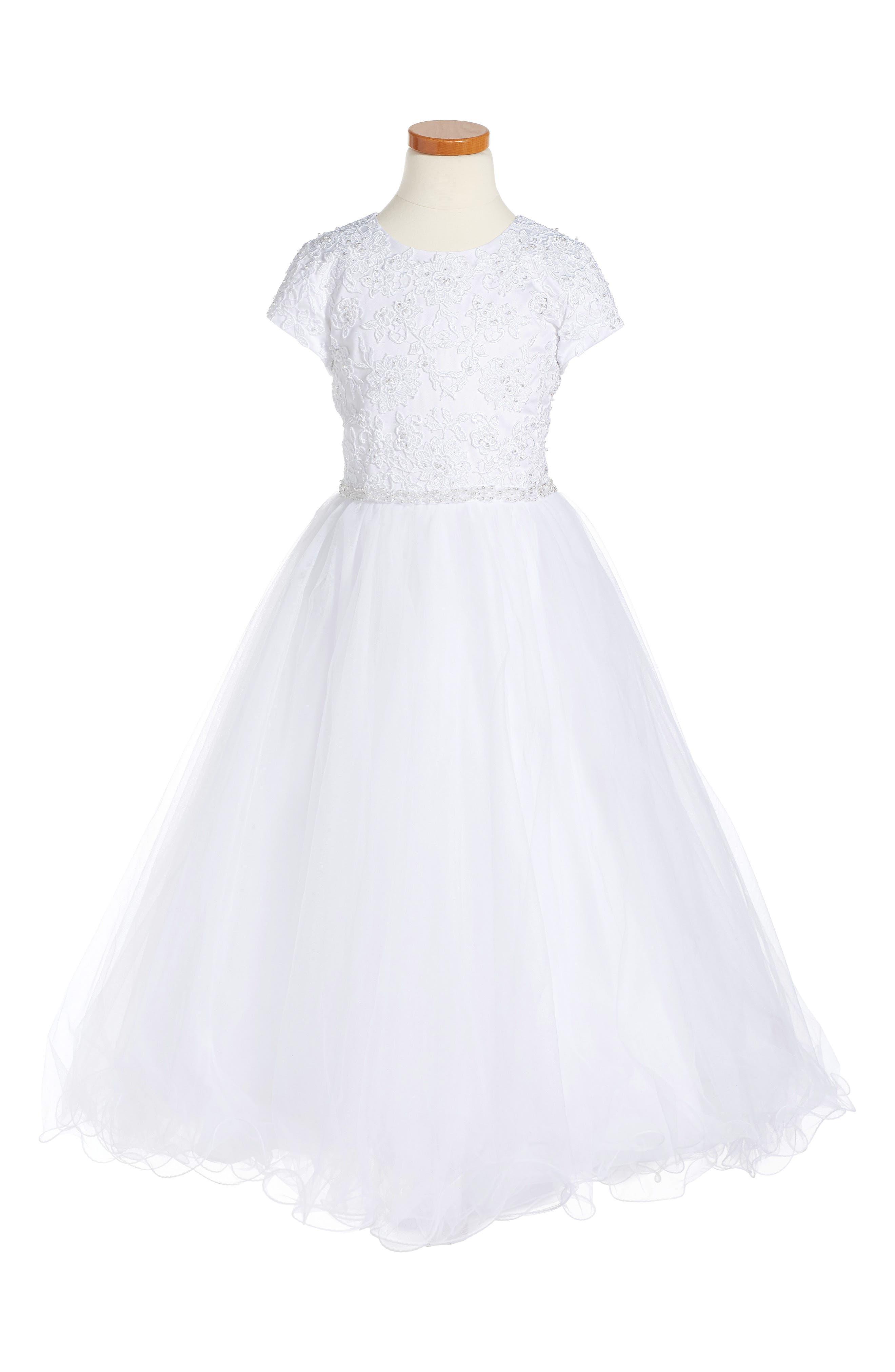 Floral Appliqué First Communion Dress,                         Main,                         color, White