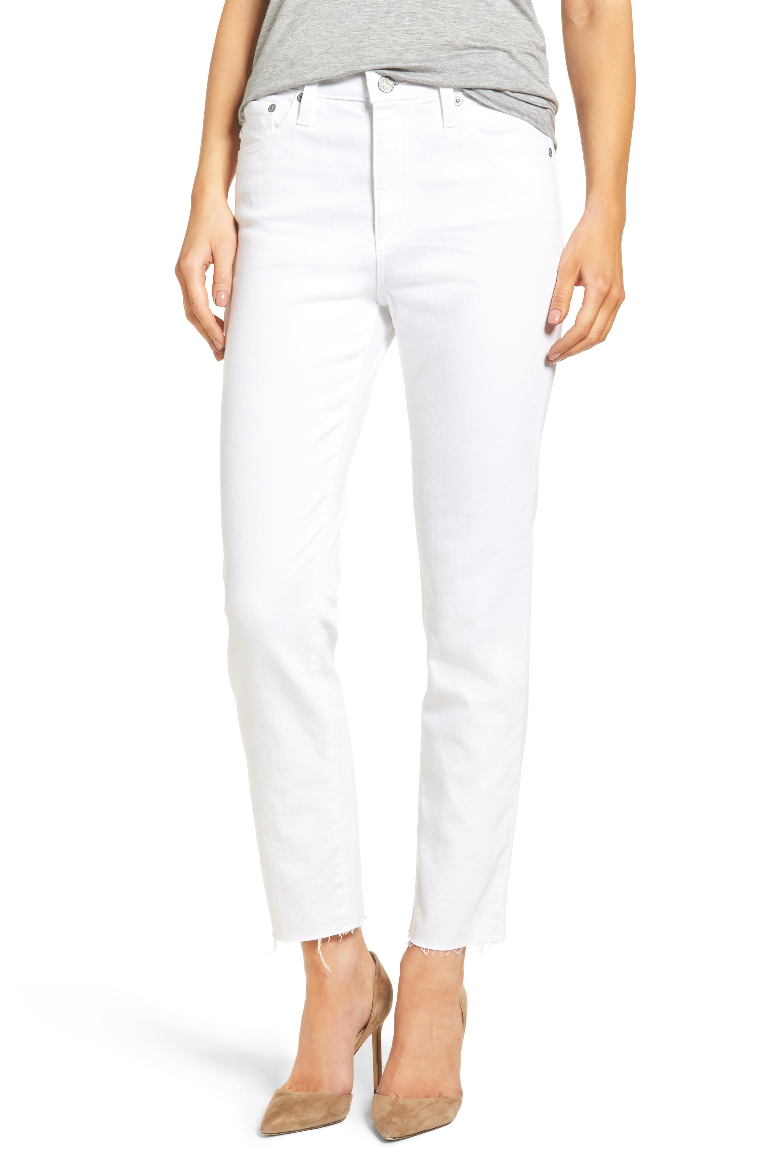 The Isabelle High Waist Crop Straight Leg Jeans,                         Main,                         color, 01 Years - White