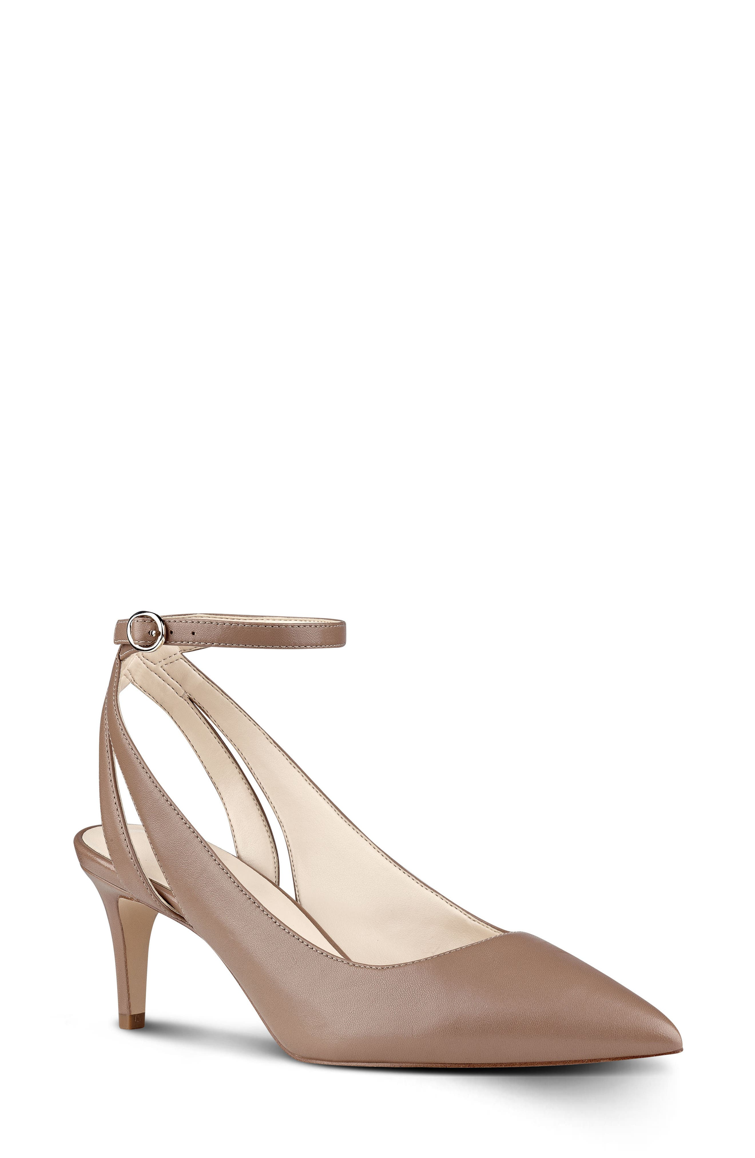 Shawn Ankle Strap Pump,                         Main,                         color, Natural Leather