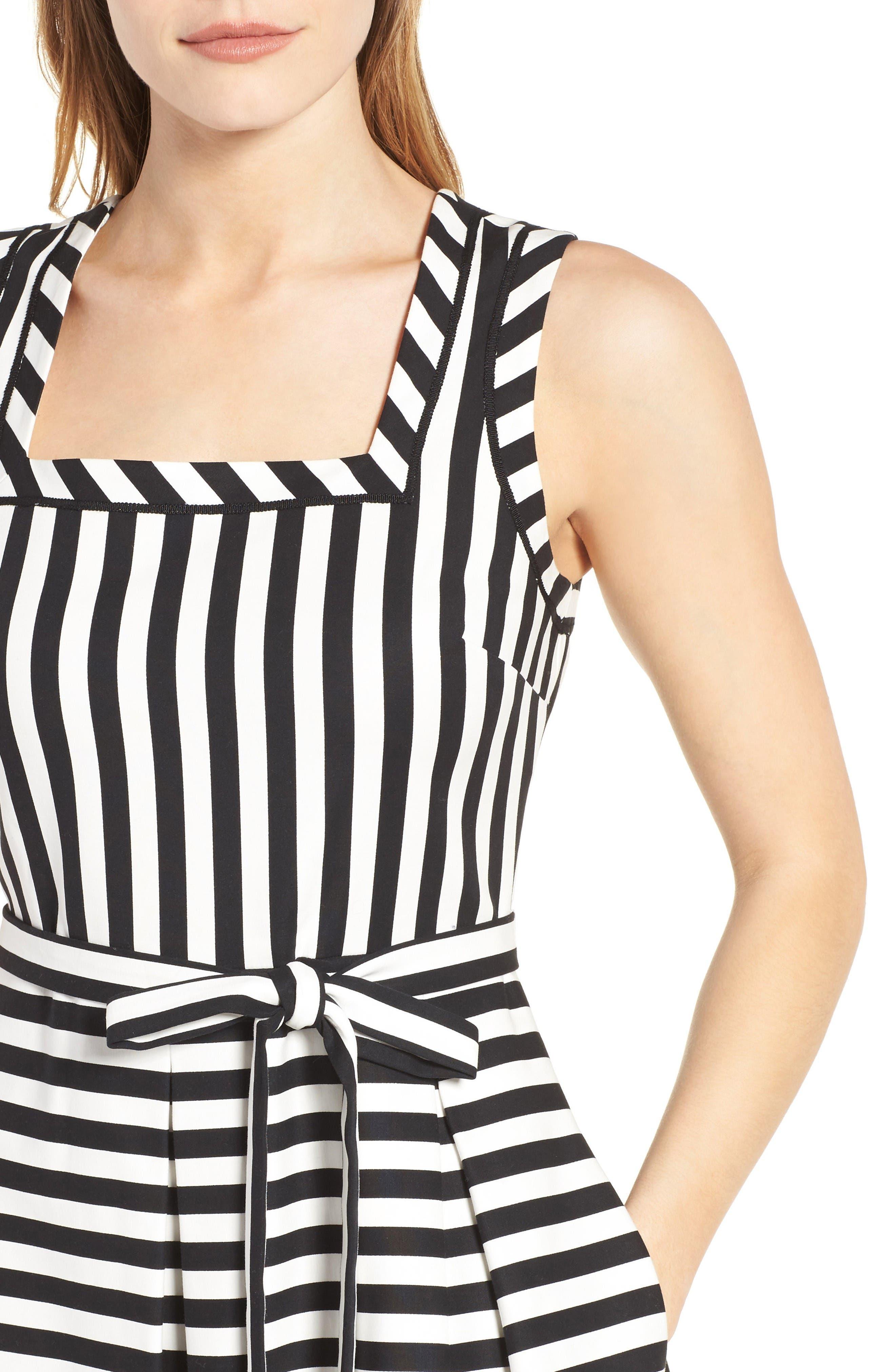 Stripe Fit & Flare Dress,                             Alternate thumbnail 4, color,                             Black Multi/ Black