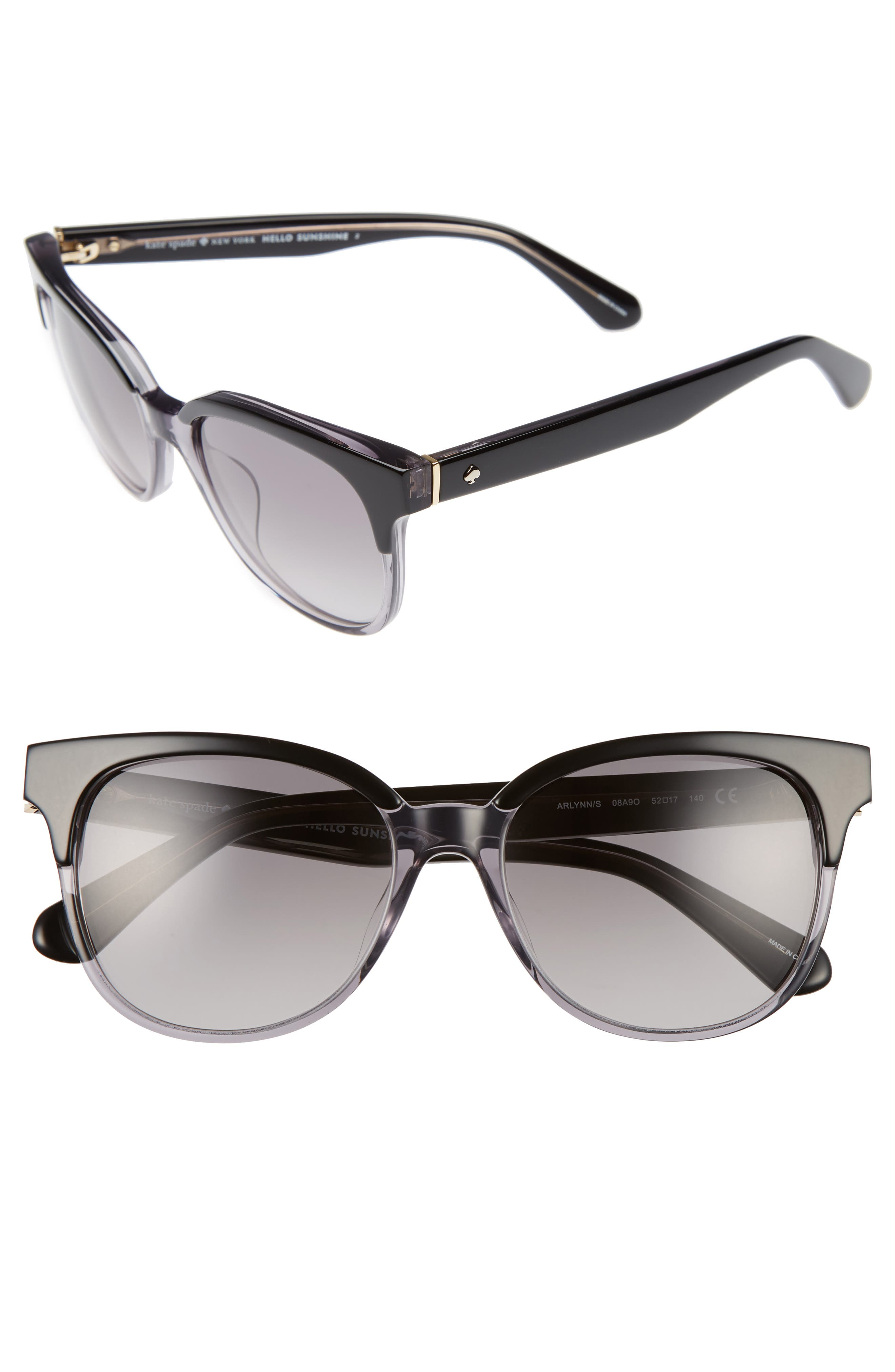 arlynn 52mm sunglasses,                             Main thumbnail 1, color,                             Black/ Grey