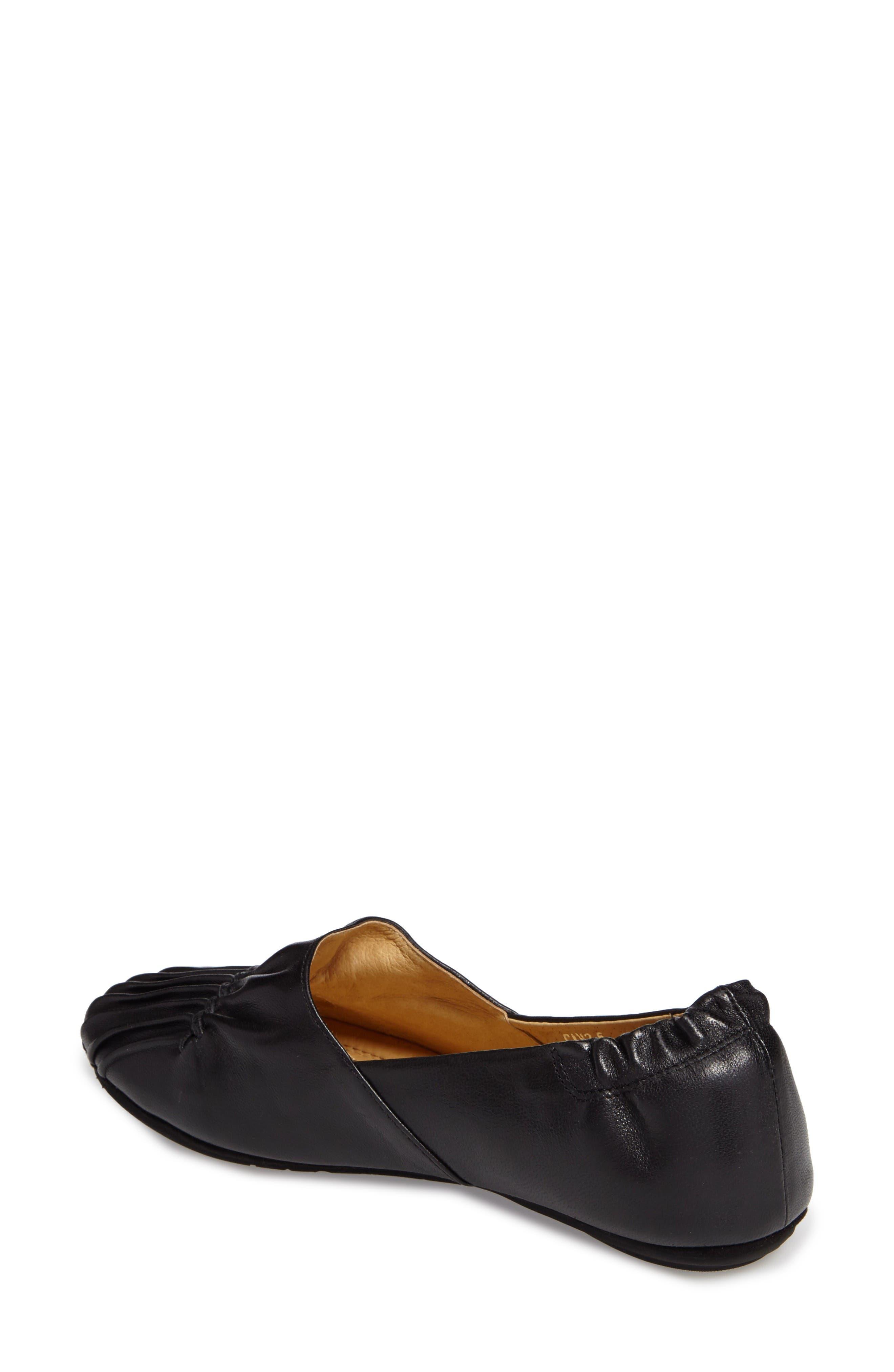 Seamed Flat,                             Alternate thumbnail 2, color,                             Black Leather
