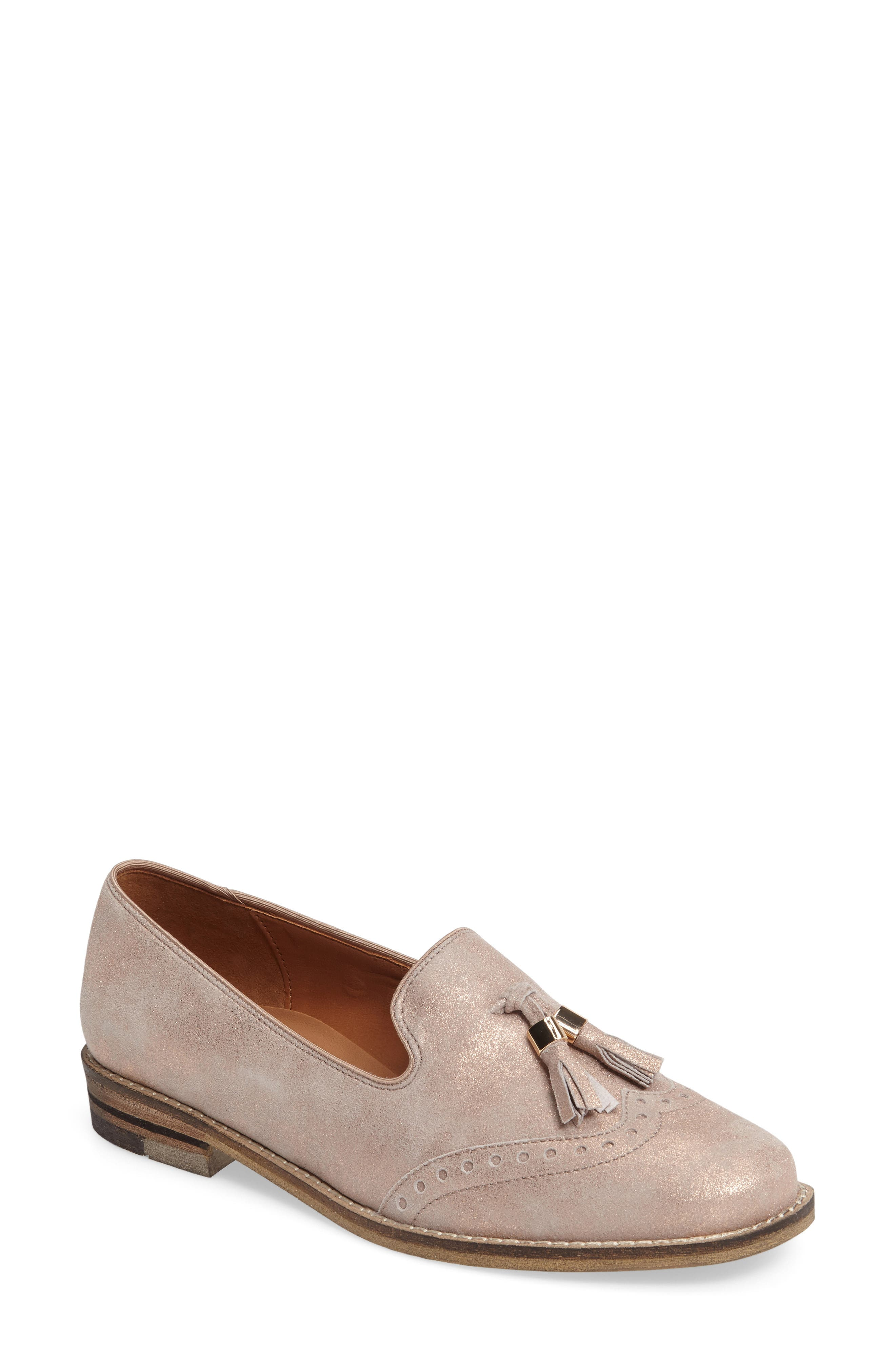 Kay Tassel Loafer,                             Main thumbnail 1, color,                             Rose Gold Leather
