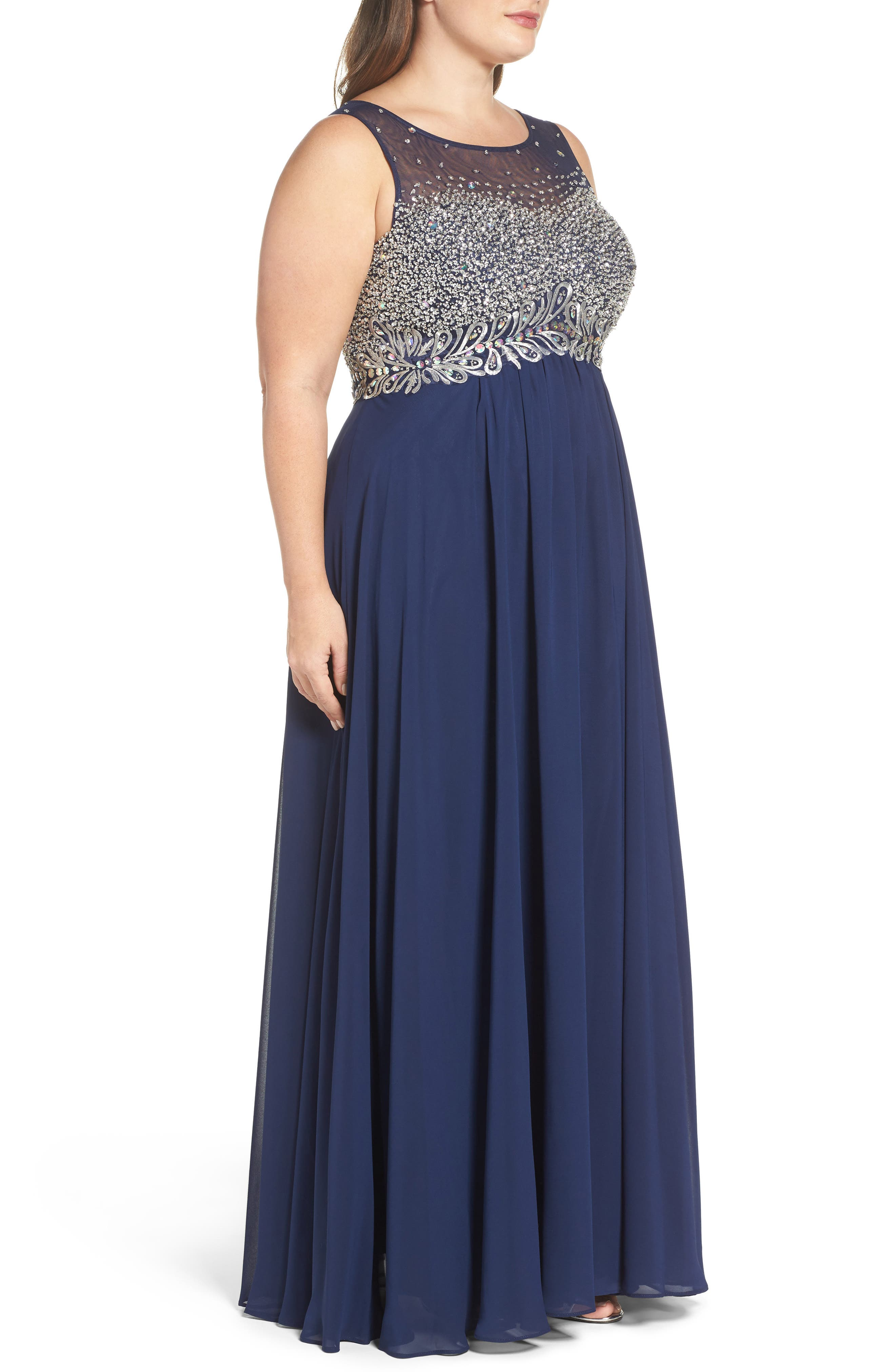 Beaded Illusion Bodice A-Line Gown,                             Alternate thumbnail 3, color,                             Navy