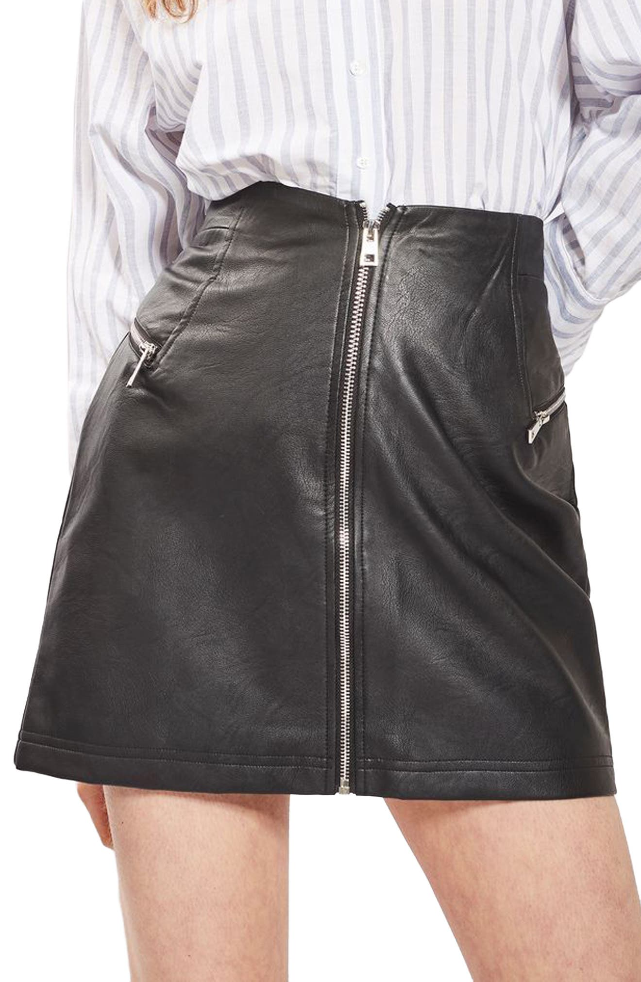 Main Image - Topshop Zip Faux Leather Miniskirt