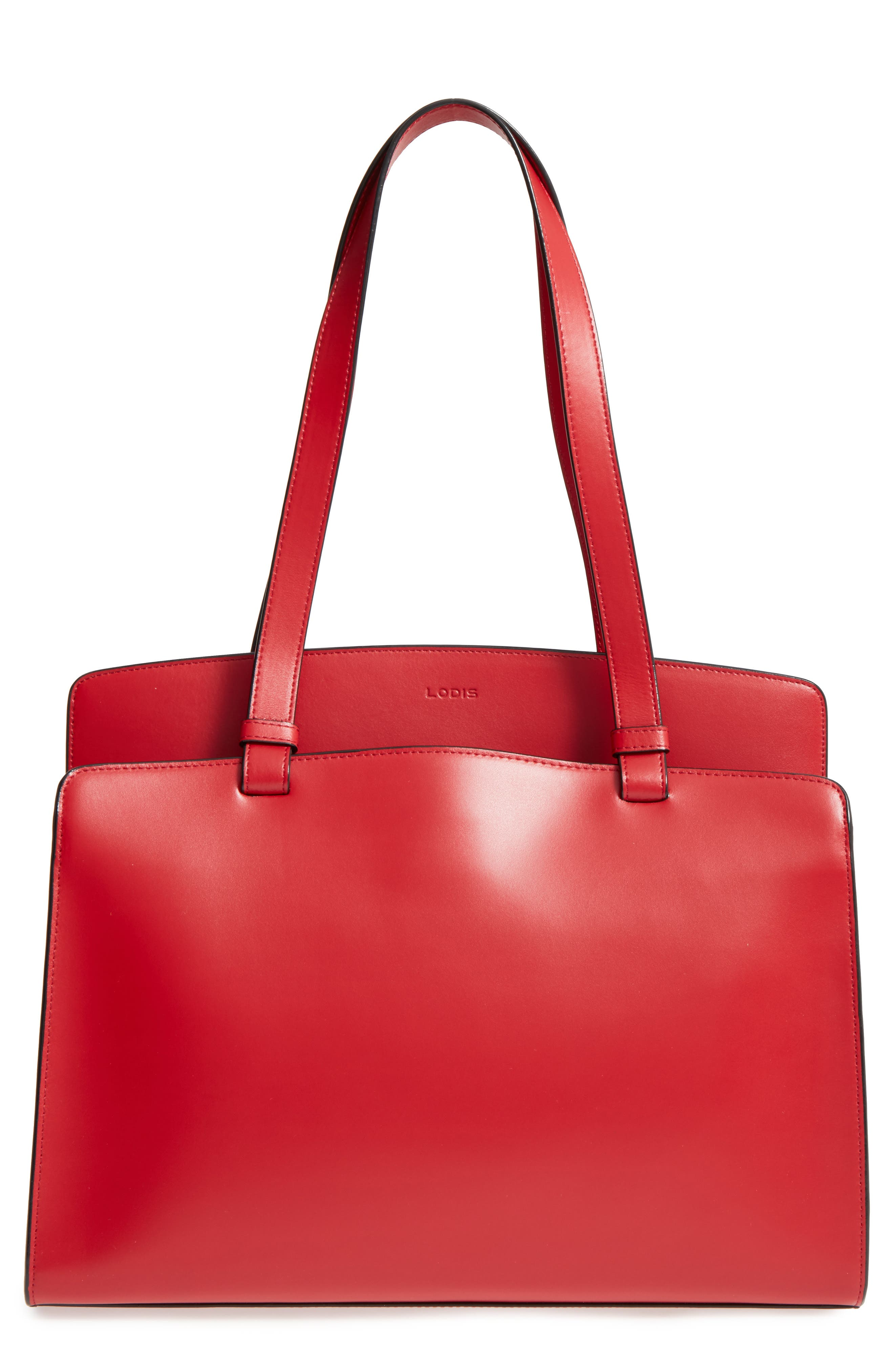 Lodis Audrey Collection - Jana Leather Tote,                             Main thumbnail 1, color,                             Red