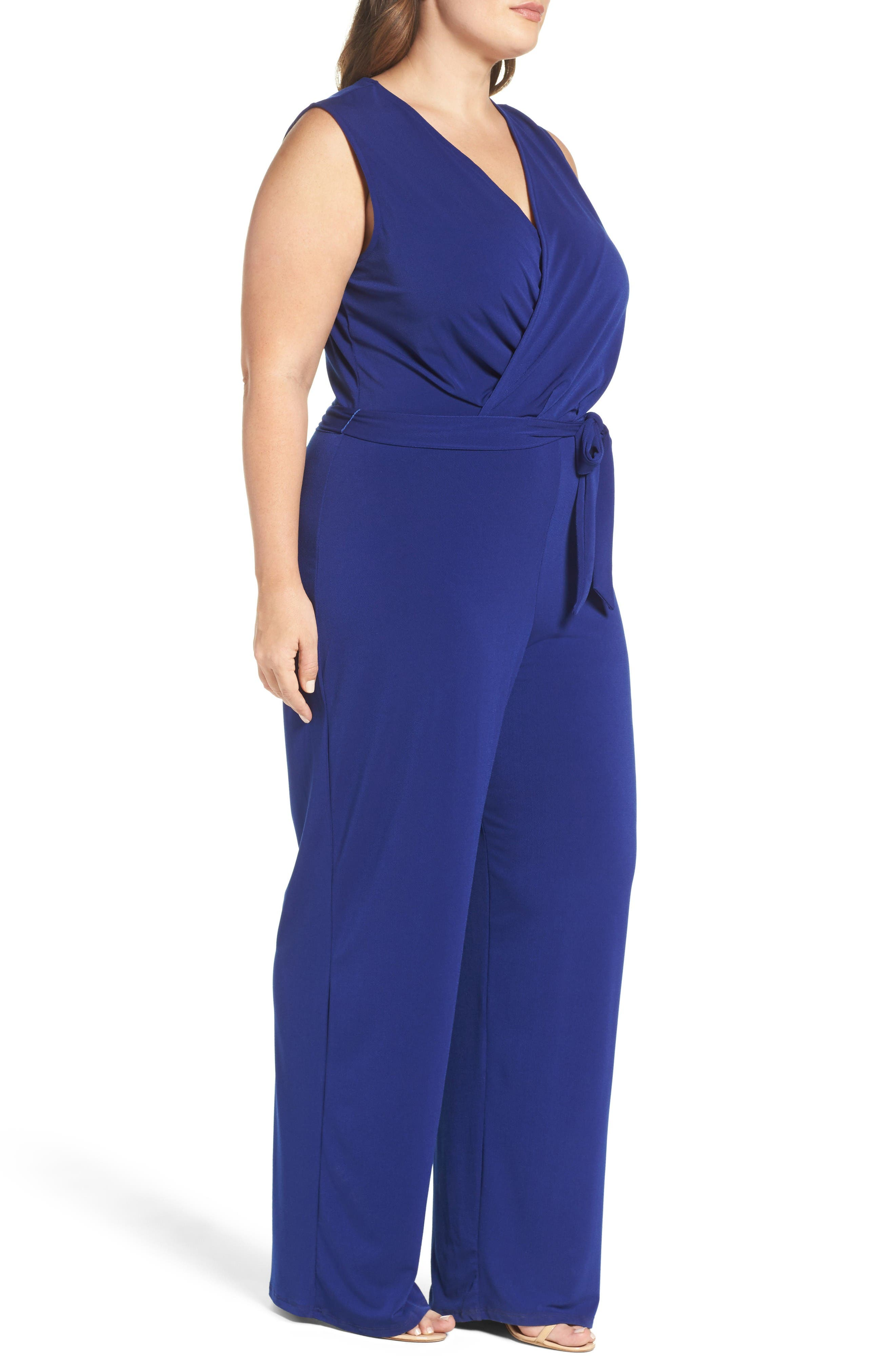 Lizzie Wide Leg Jumpsuit,                             Alternate thumbnail 3, color,                             Navy Crepe