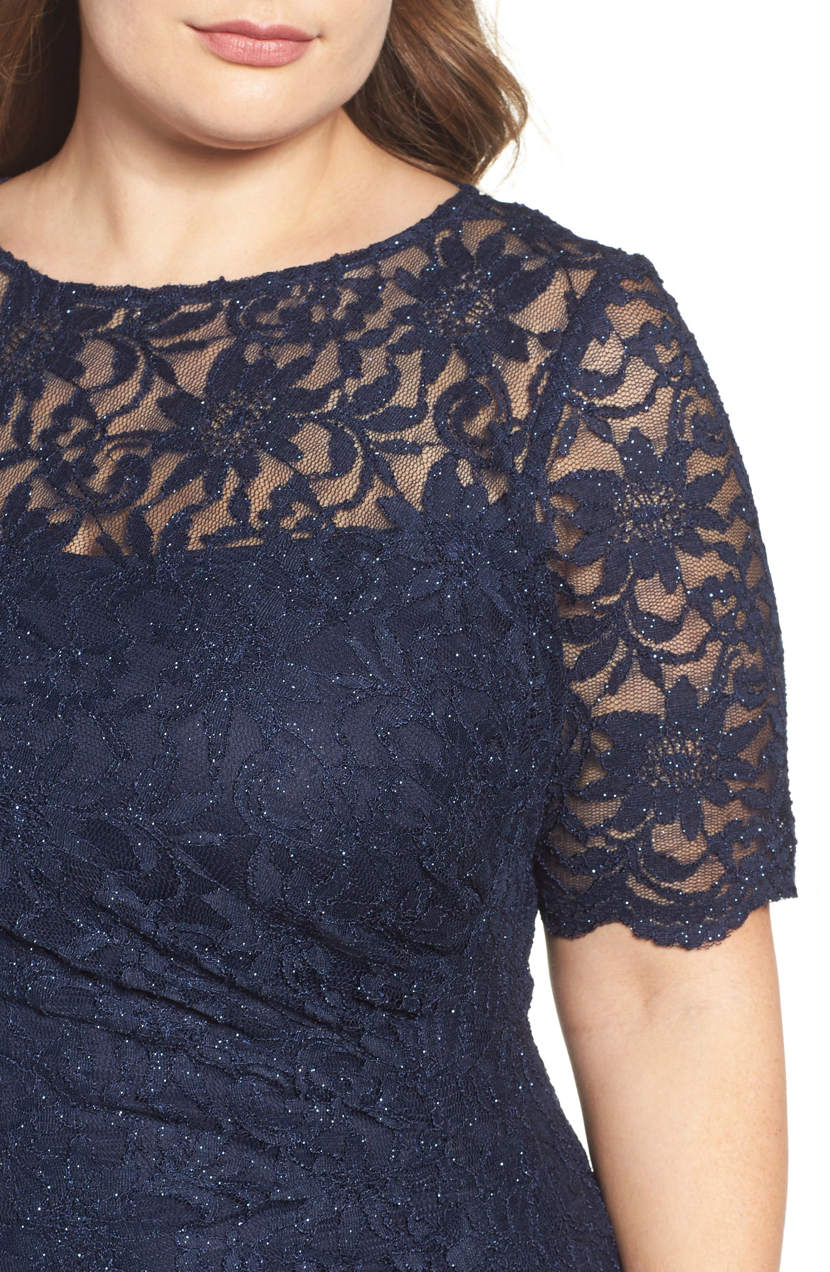 A-Line Stretch Lace Gown,                             Alternate thumbnail 4, color,                             Navy