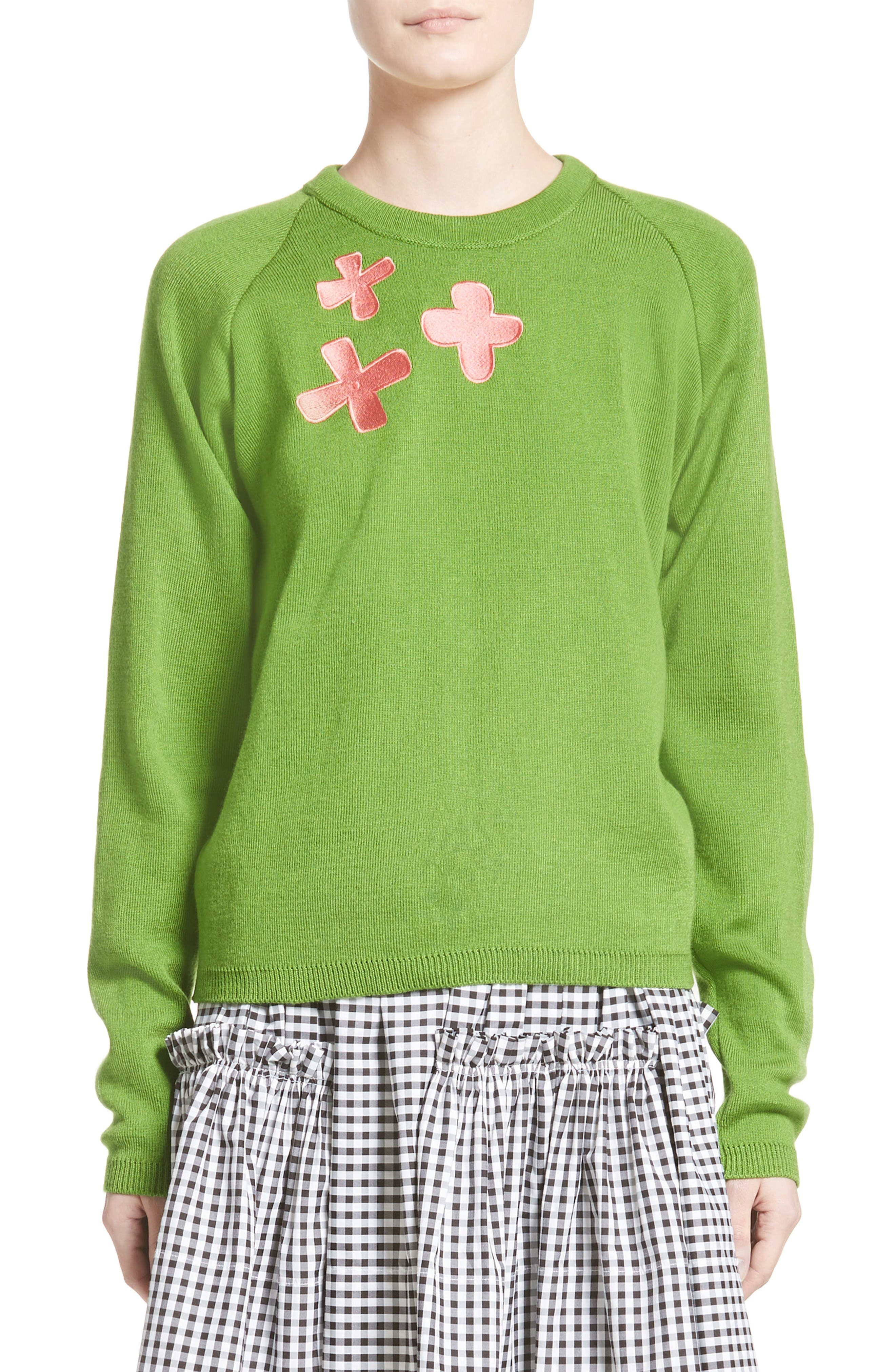 Charlie Sweater,                             Main thumbnail 1, color,                             Green/ Pink