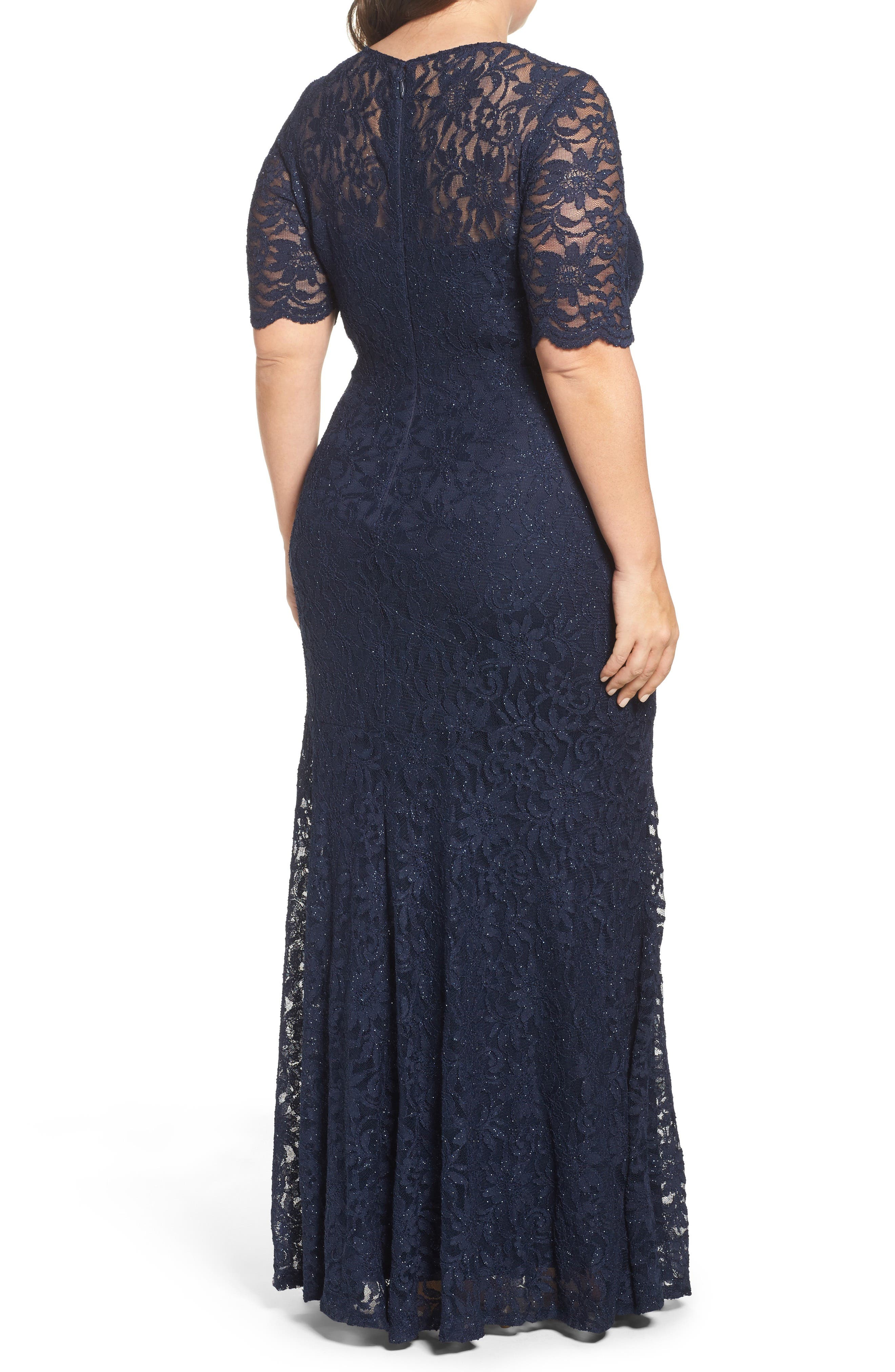 A-Line Stretch Lace Gown,                             Alternate thumbnail 2, color,                             Navy