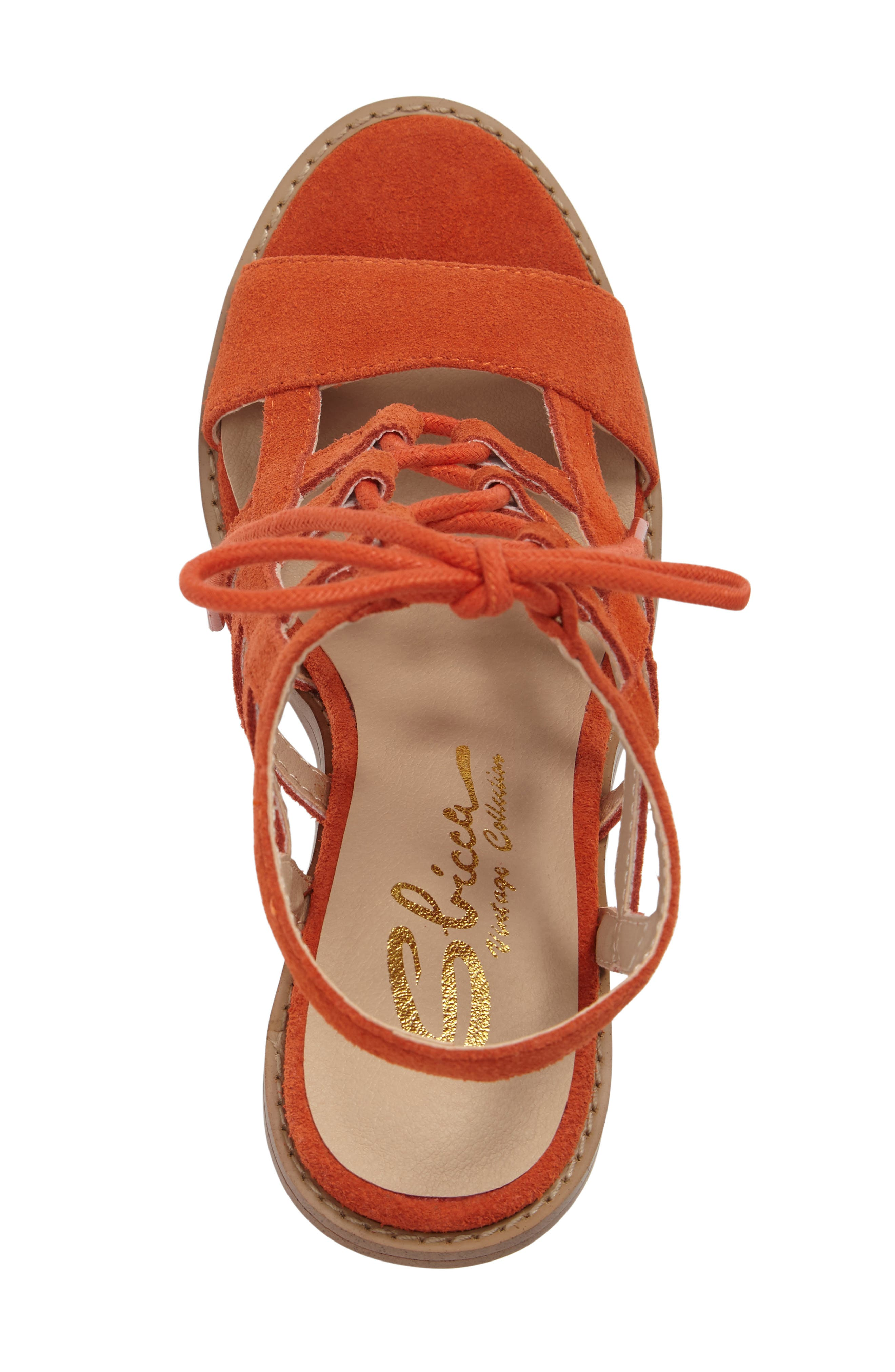 Sanni Cage Sandal,                             Alternate thumbnail 5, color,                             Orange Leather
