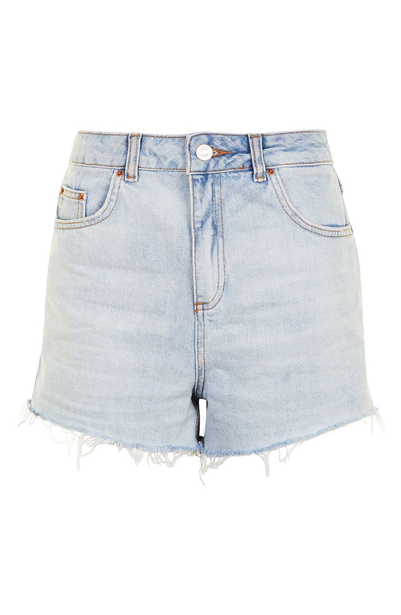 Alternate Image 4  - Topshop Longline Denim Mom Shorts