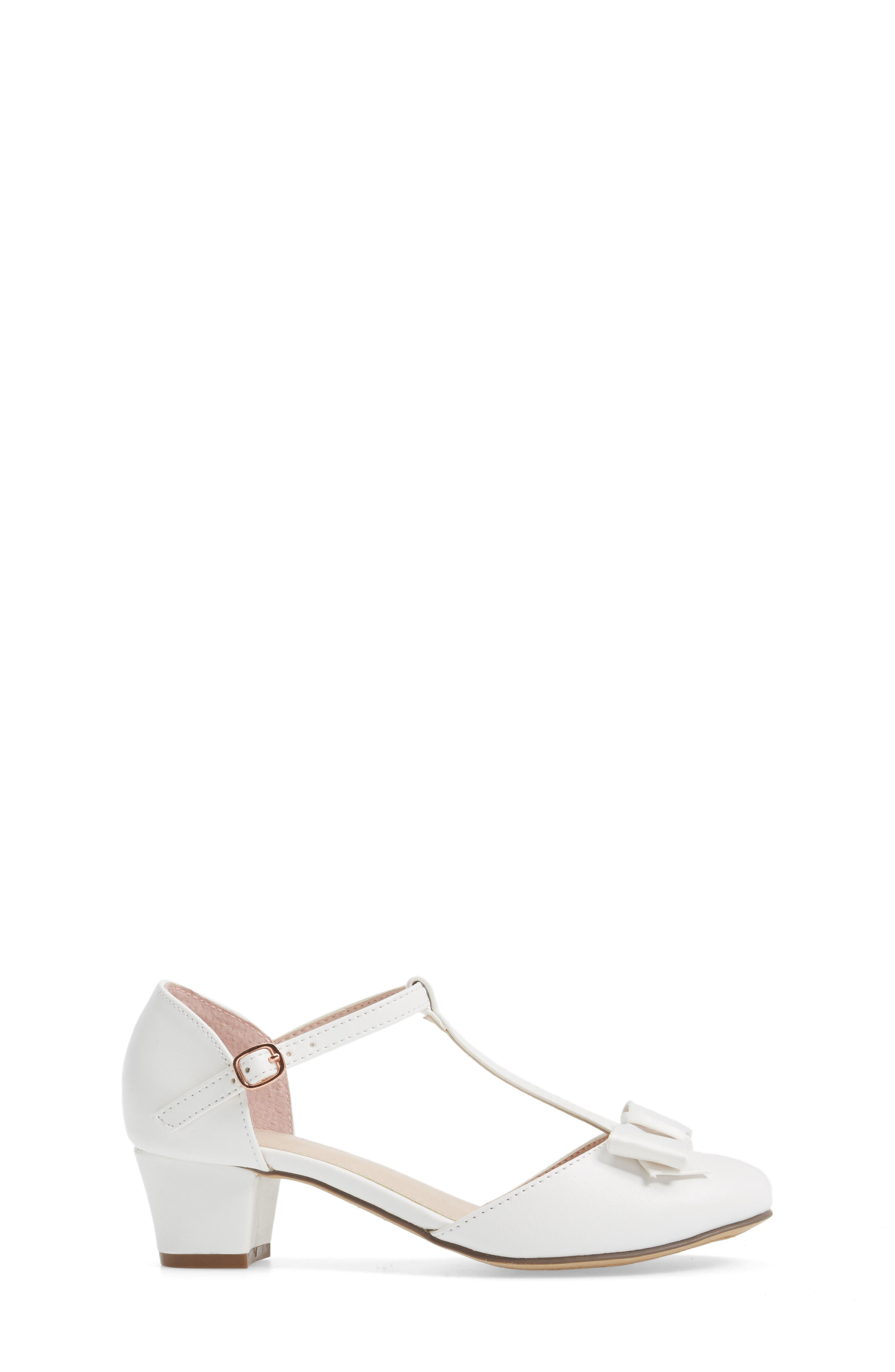 Wylow T-Strap Bow Pump,                             Alternate thumbnail 3, color,                             White Faux Leather