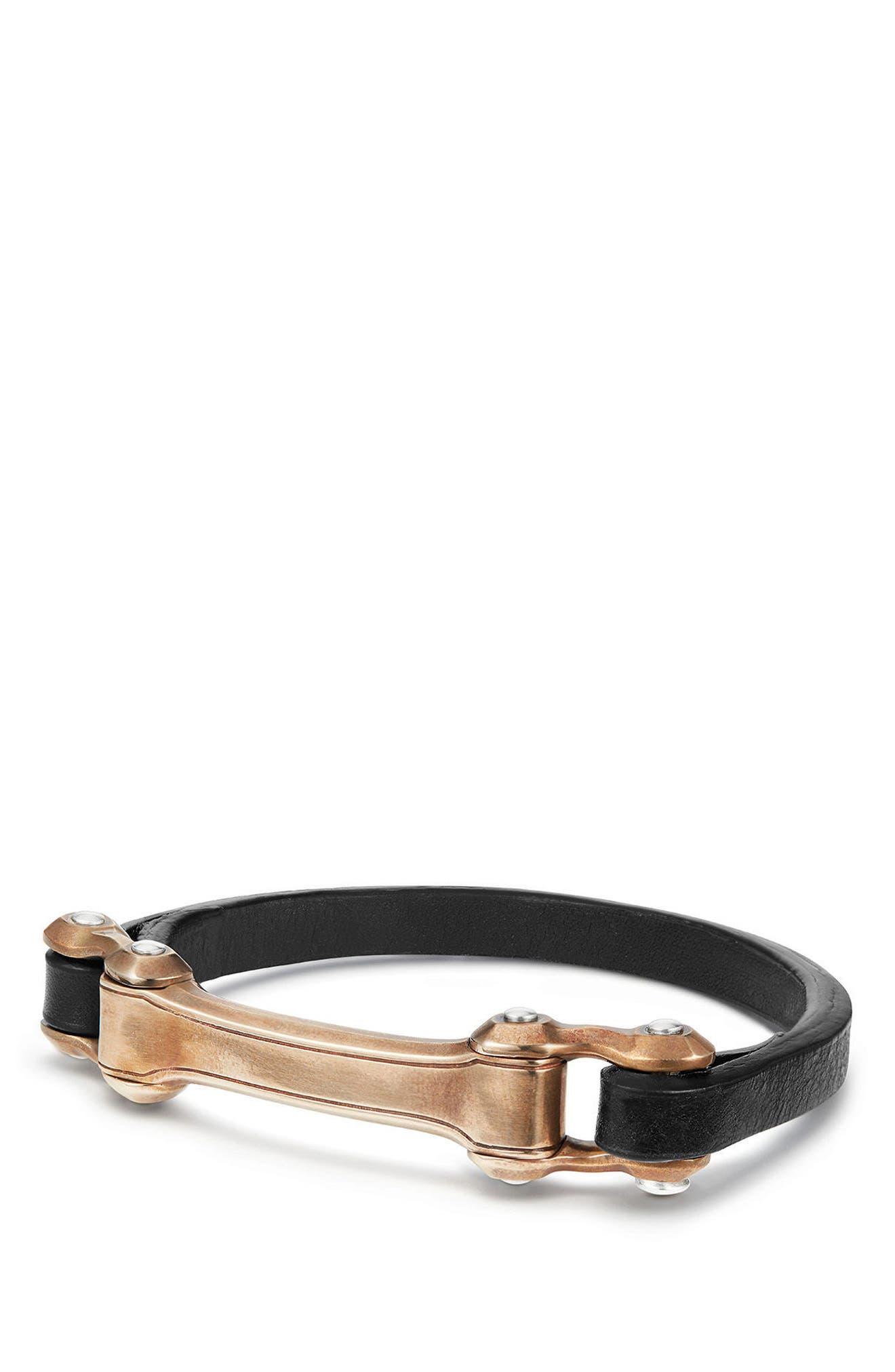 Anvil ID Bracelet,                             Main thumbnail 1, color,                             Silver/ Bronze/ Black Leather