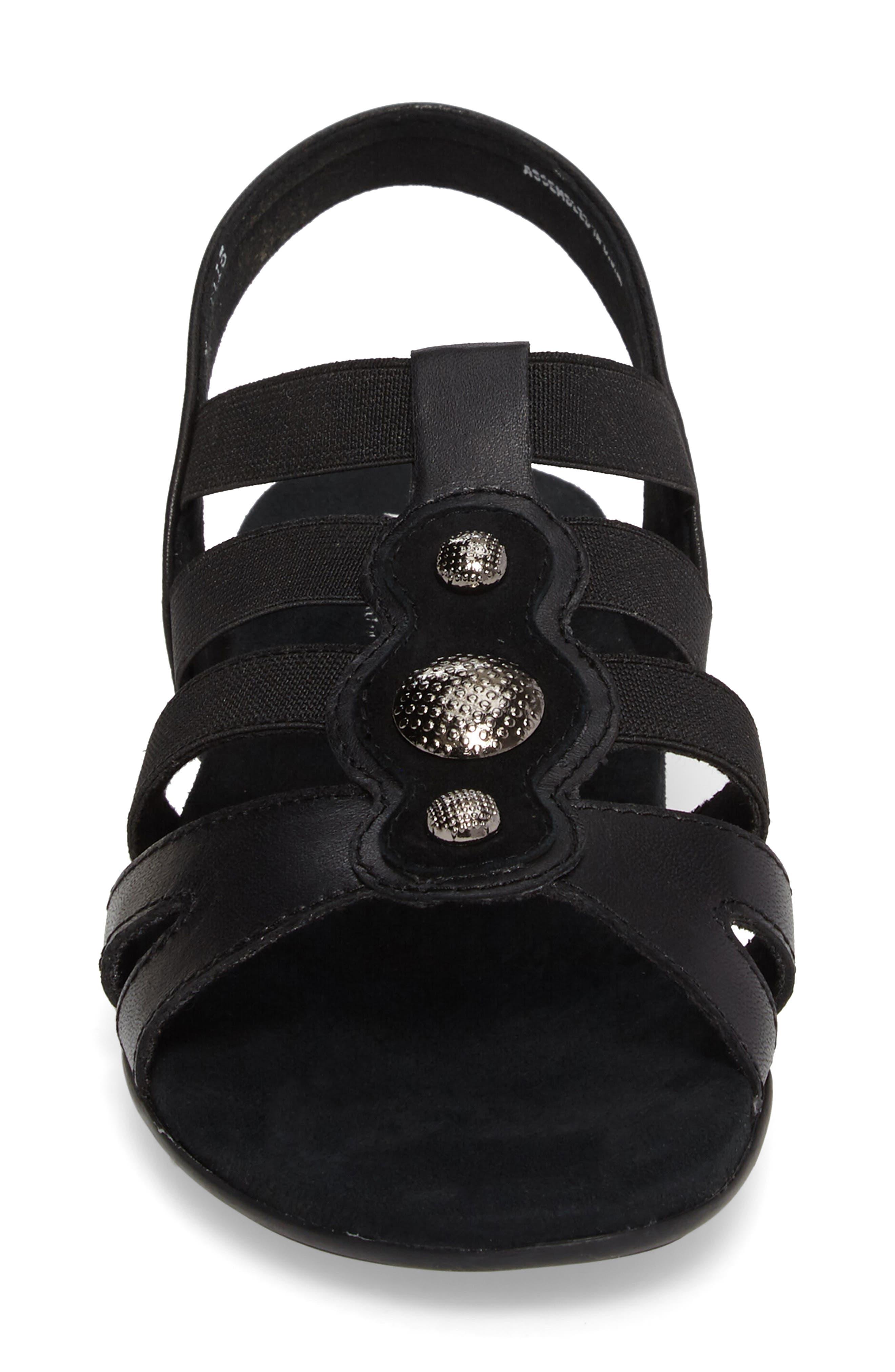 Destiny Sandal,                             Alternate thumbnail 4, color,                             Black Leather