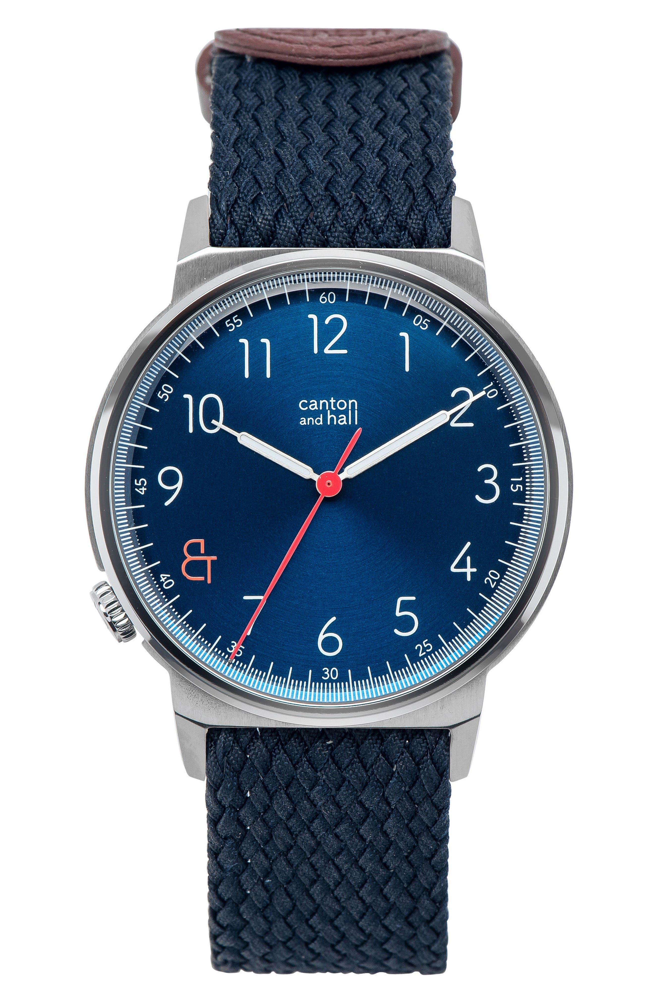 Nylon Strap Watch, 40mm,                         Main,                         color, Navy/ Navy