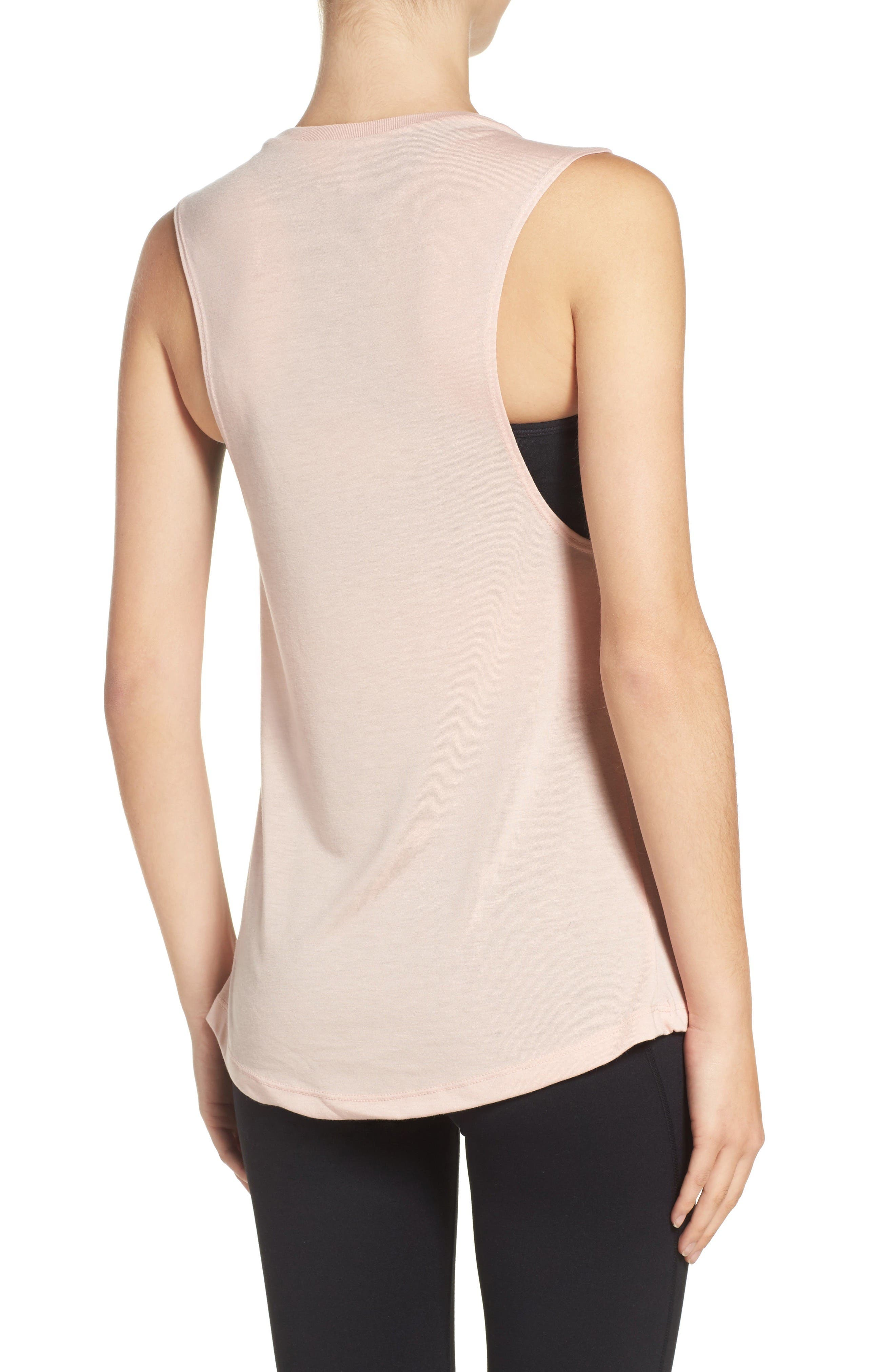 Rosé All Day Jersey Muscle Tee,                             Alternate thumbnail 2, color,                             Peach