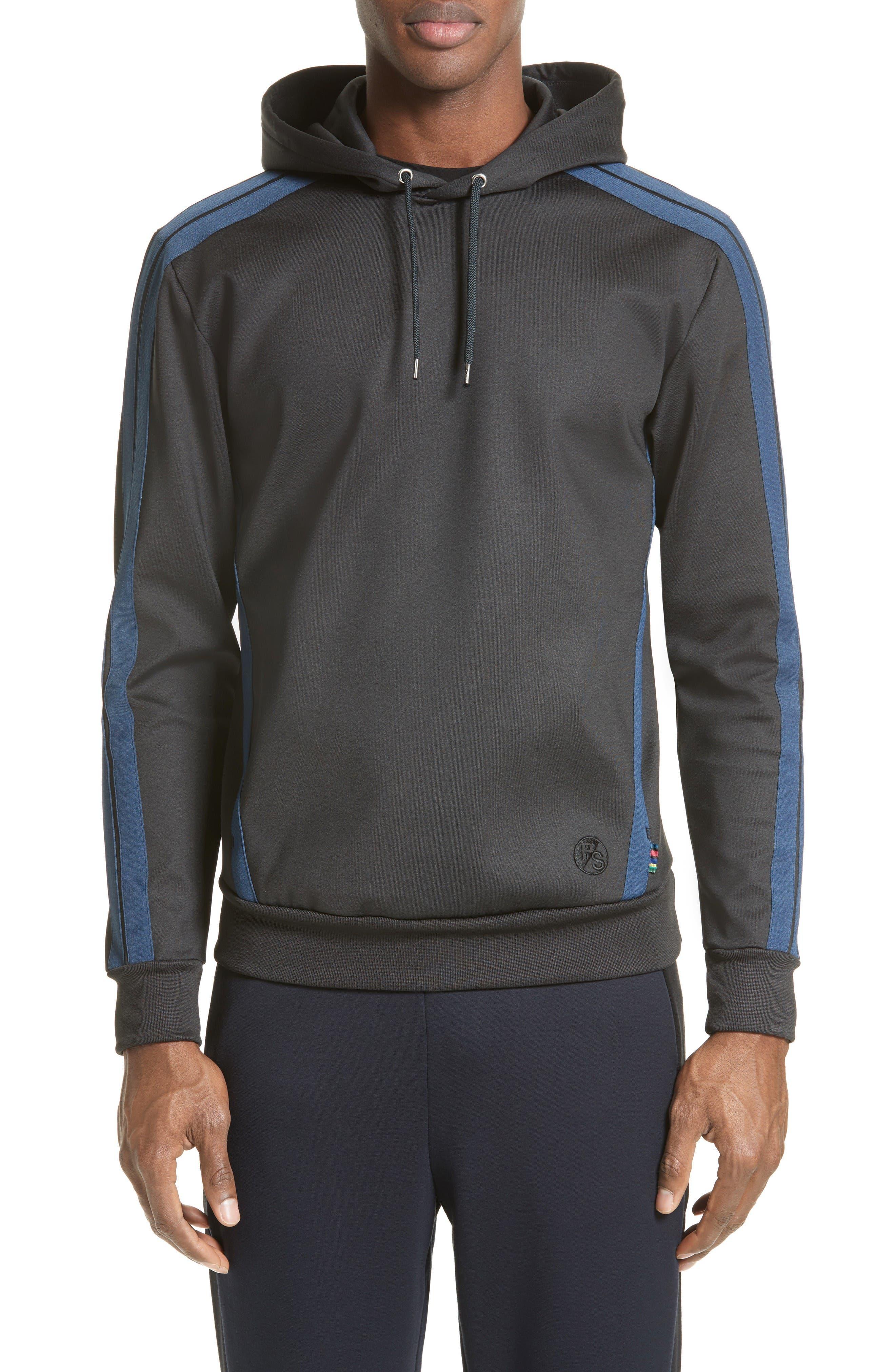 Track Jacket Hoodie,                         Main,                         color, Black