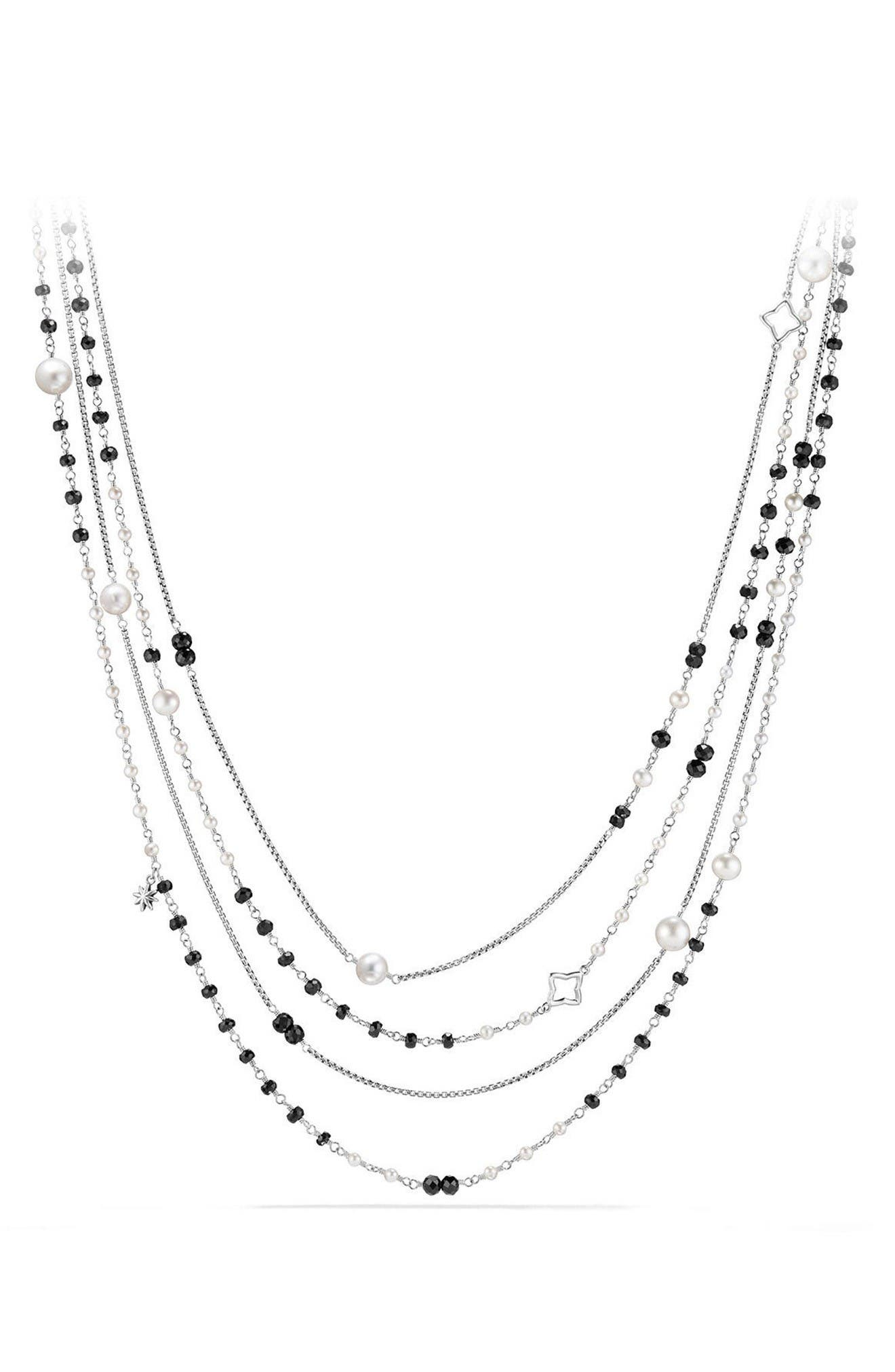 Solari Two Row Pearl Chain Necklace,                         Main,                         color, Pearl/ Black Spinel