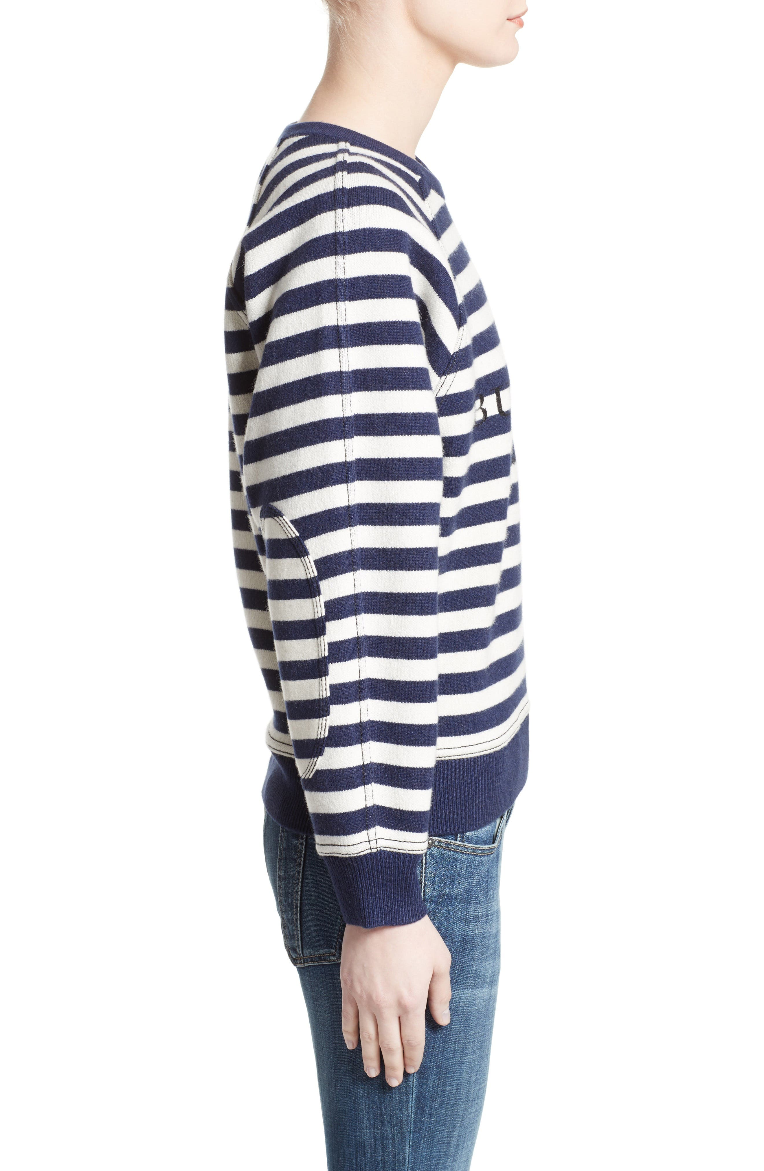 Selune Stripe Wool & Cashmere Sweater,                             Alternate thumbnail 5, color,                             Navy