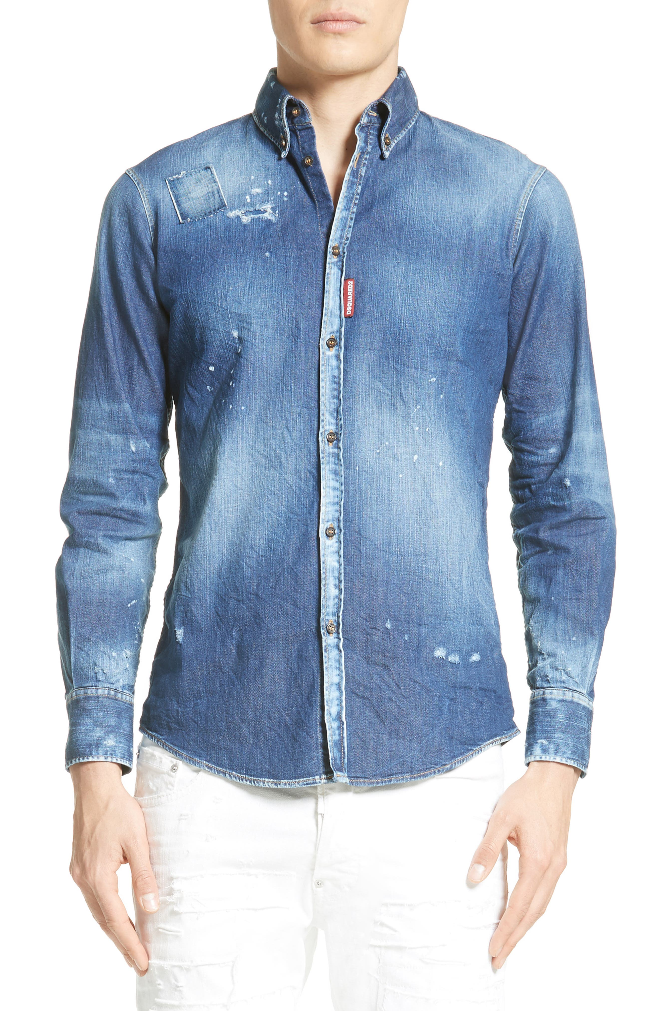 Extra Trim Fit Distressed Denim Sport Shirt,                         Main,                         color, Blue
