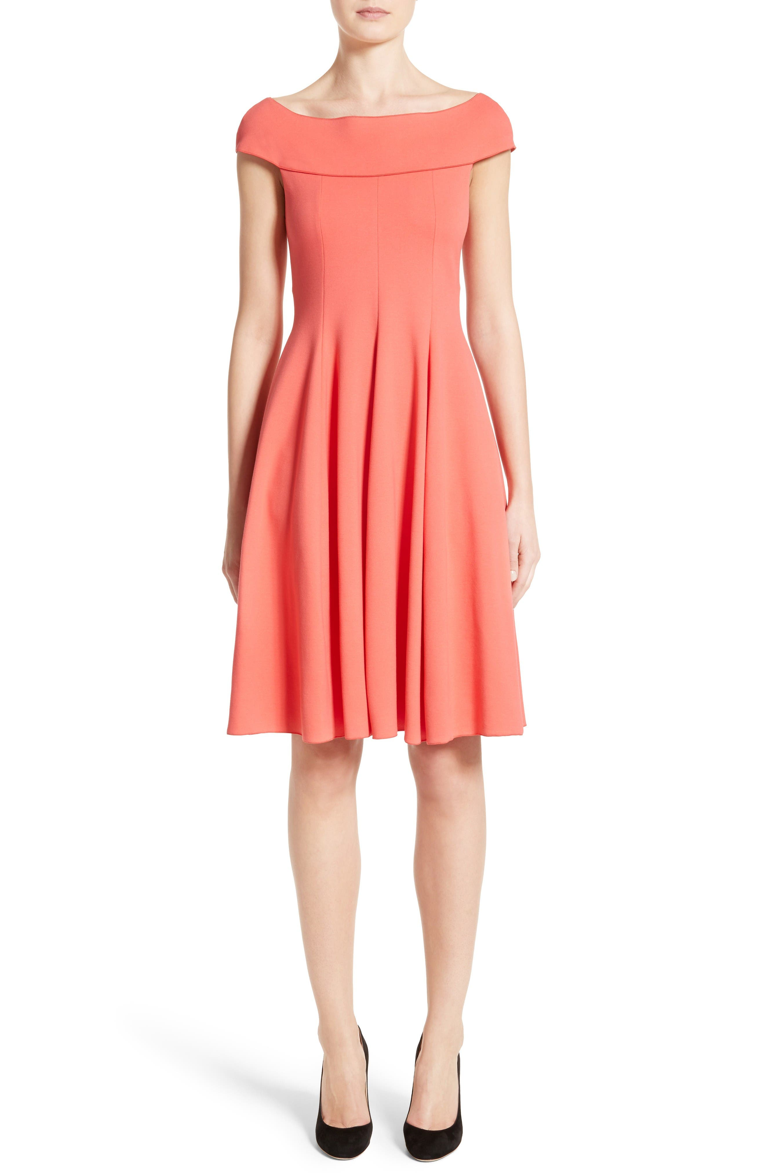 Armani Collezioni Off the Shoulder Fit & Flare Dress