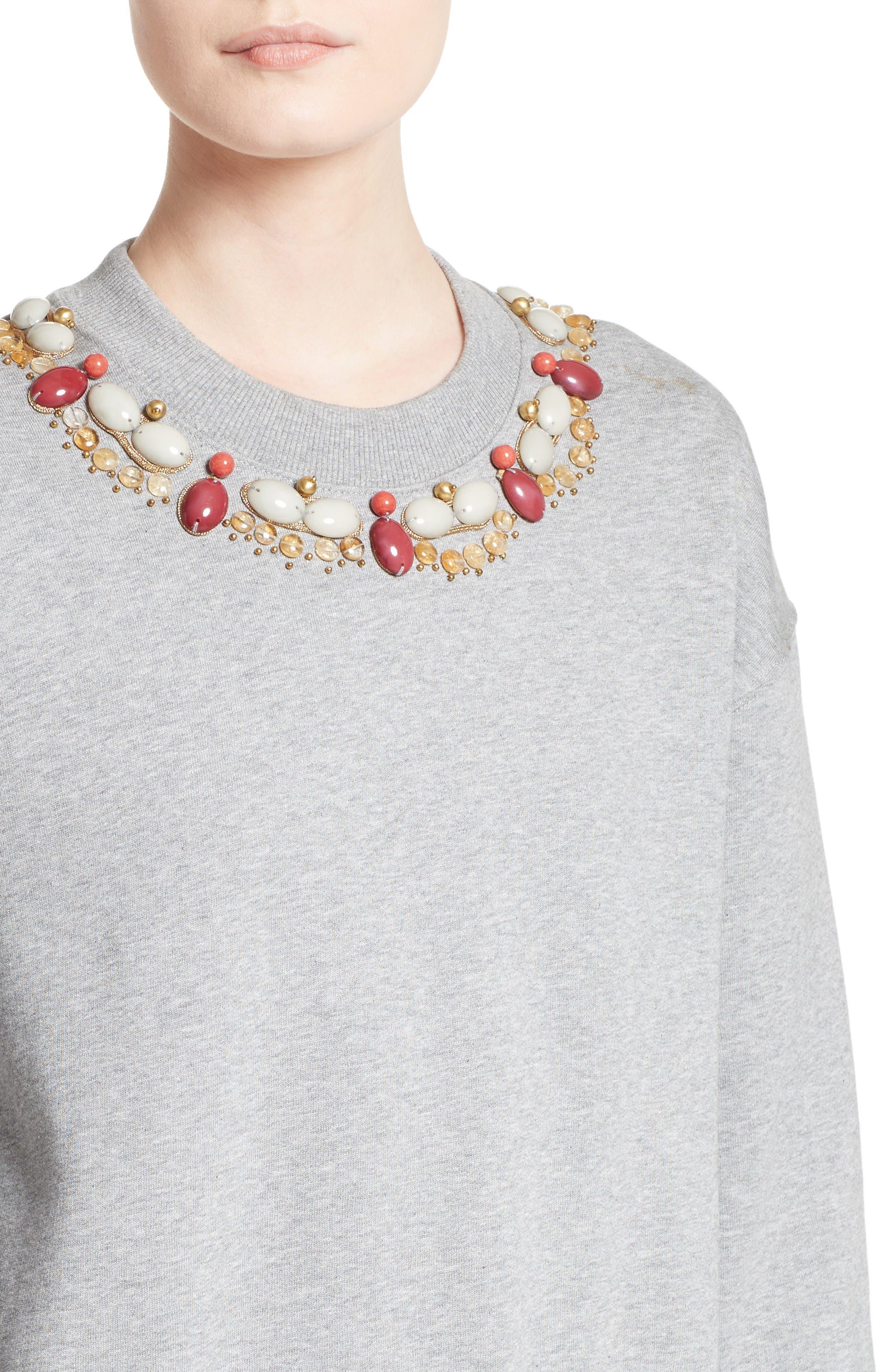 Juliano Embellished Sweatshirt,                             Alternate thumbnail 6, color,                             Pale Grey Melange